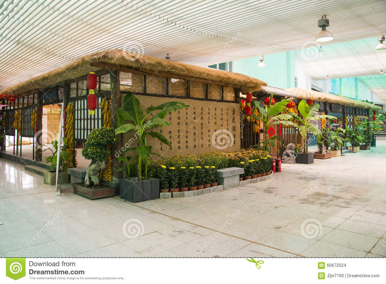 Asia China Beijing Shunyi Flowers Port The Interior Landscape Wooden House Editorial Stock