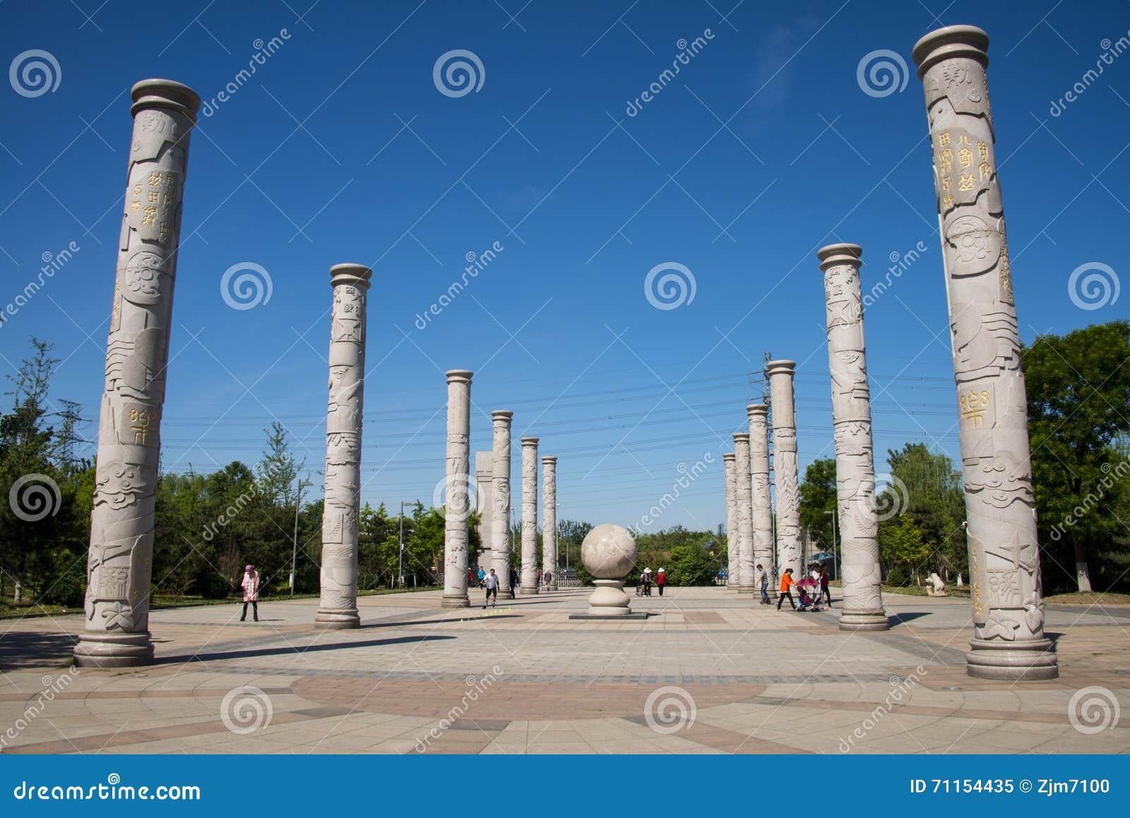 Asia China, Beijing, Yang Shan Park, totem pole