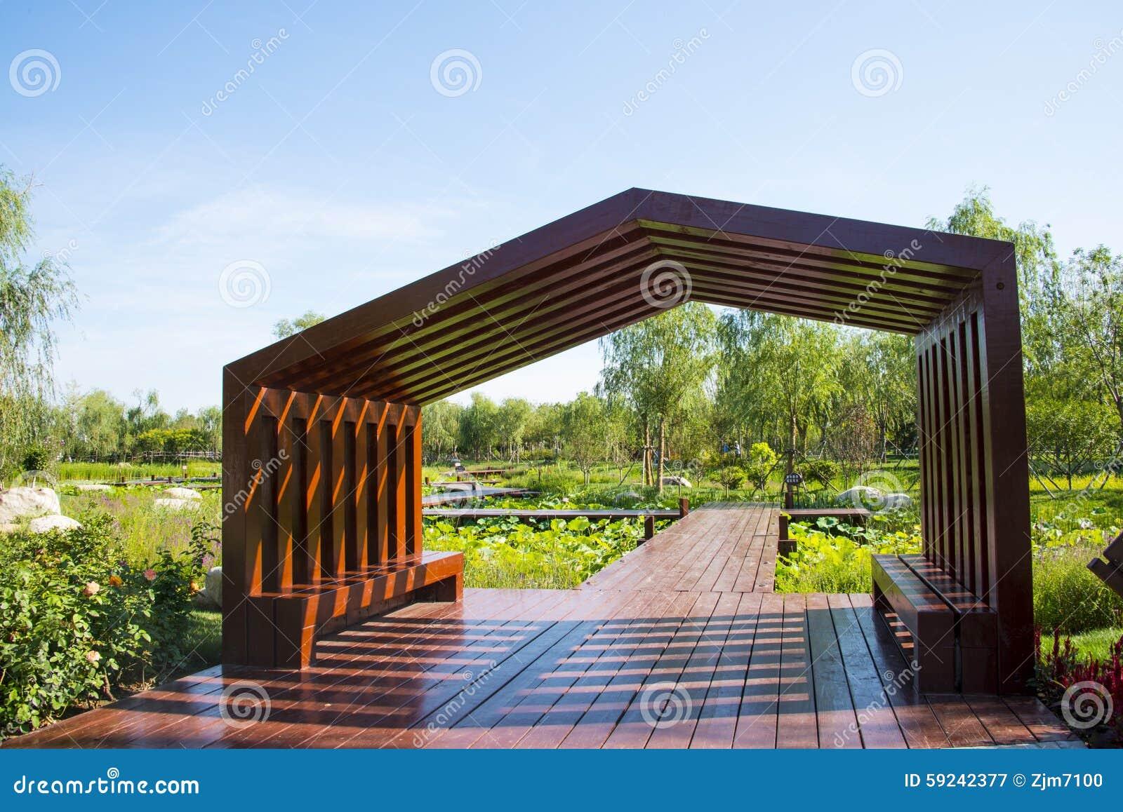 Asia China, Wuqing, Tianjin, expo verde, arquitectura del jardín, galería del pabellón,