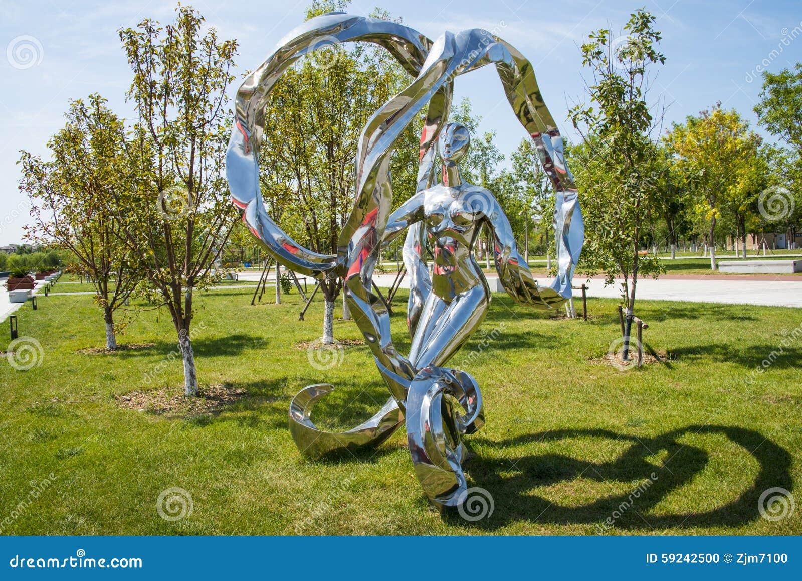 Asia China, Wuqing, Tianjin, expo verde, escultura del paisaje, las cintas que agitan de la mujer
