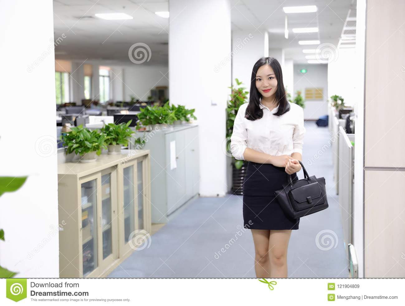 asia chinese office lady woman girl walk in office at work smile
