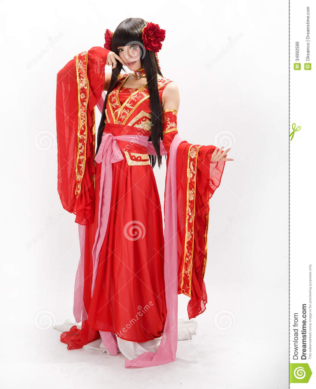 Asia Chinese Style Girl In Red Traditional Dress Dancer -1500