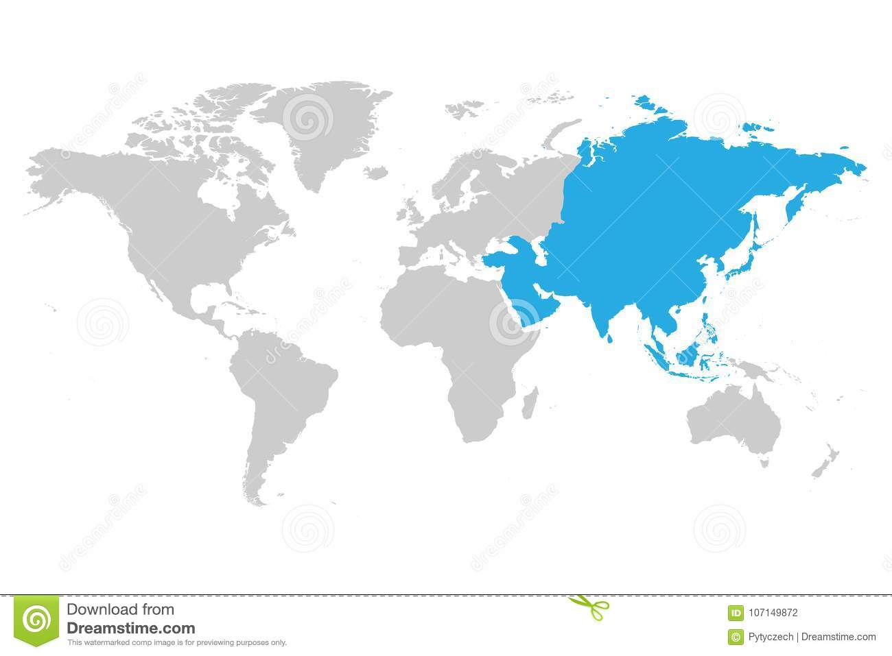 The Continent Of Asia Map.Asia Continent Blue Marked In Grey Silhouette Of World Map Stock