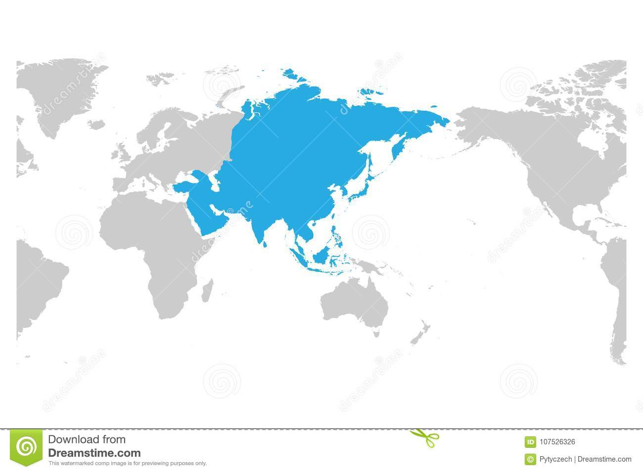 The Continent Of Asia Map.Asia Continent Blue Marked In Grey Silhouette Of World Map Centered
