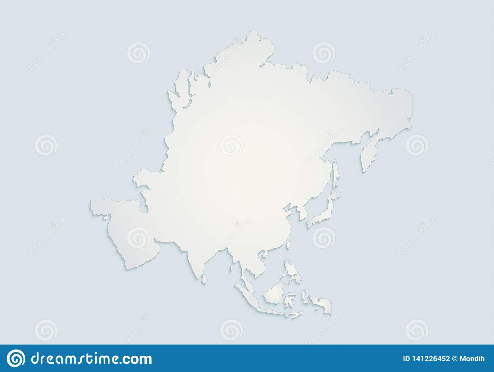 Asia Continents Map Blue White Paper 3d Blank Stock Vector