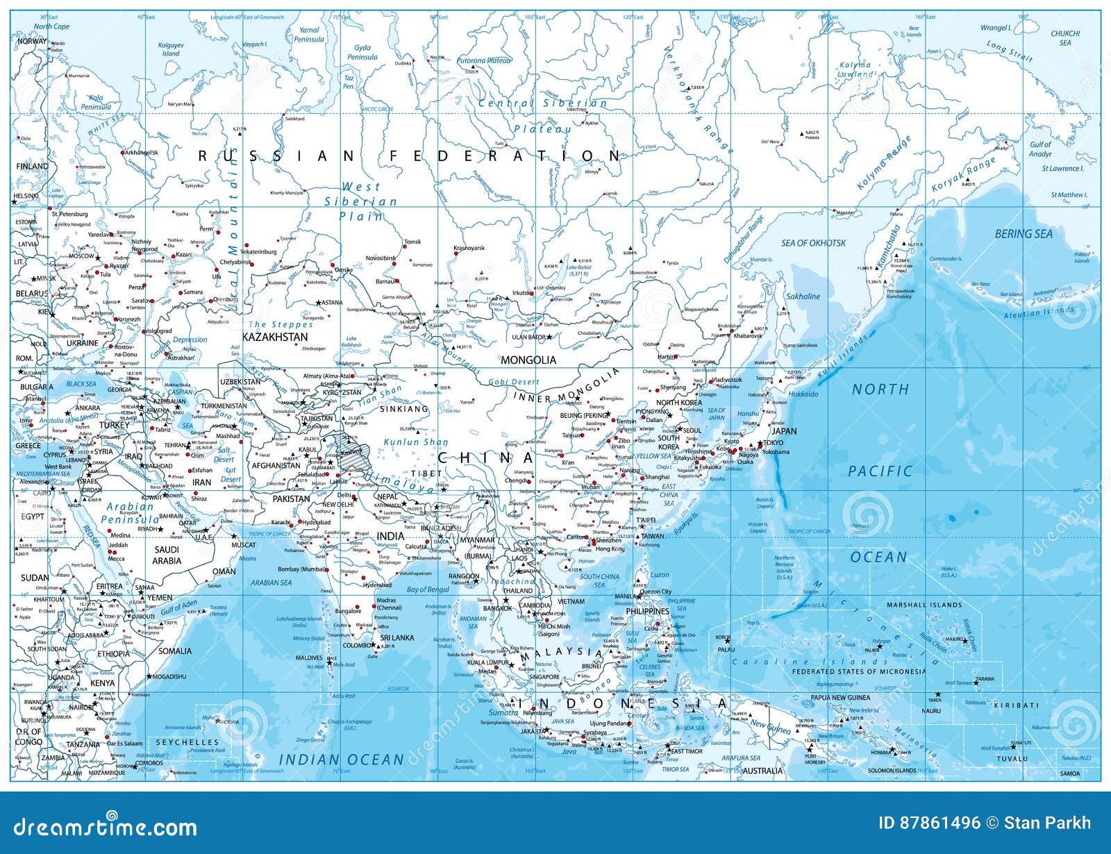 Asia detalló el mapa