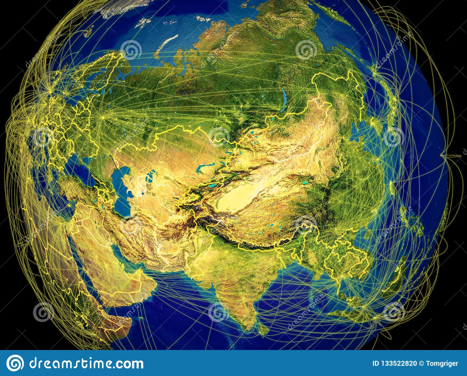 Asia on Earth stock illustration  Illustration of world - 133522820