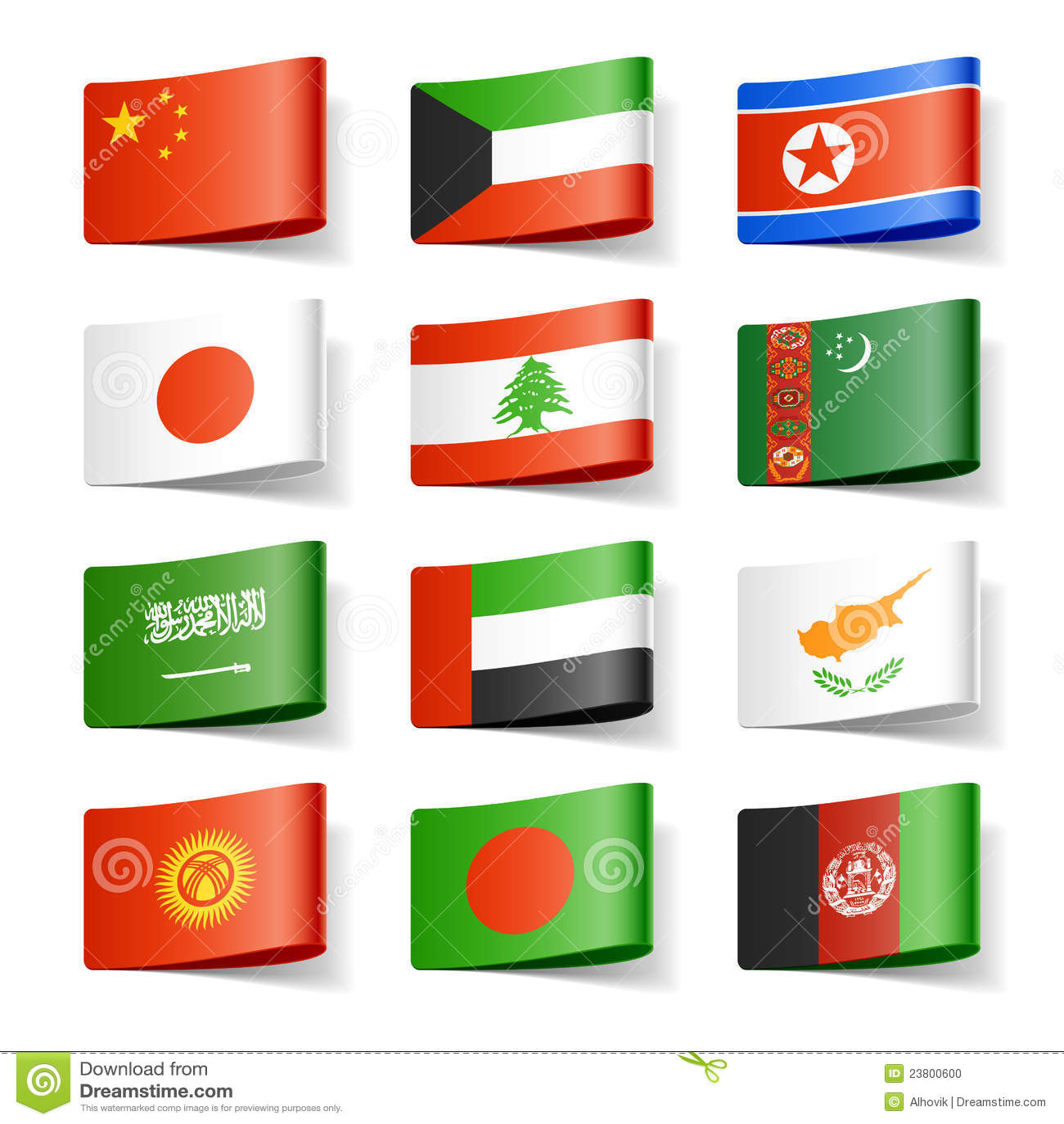 Asia flags världen