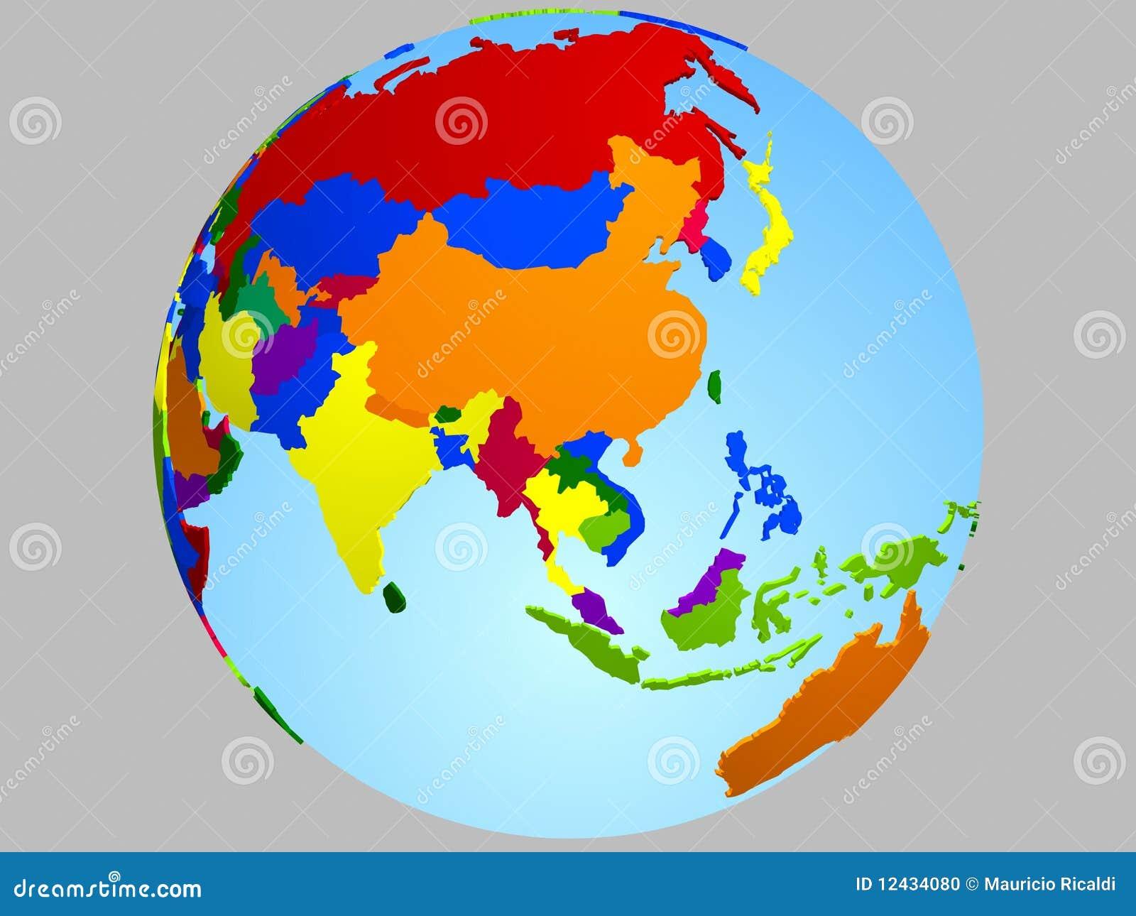Asia globe map