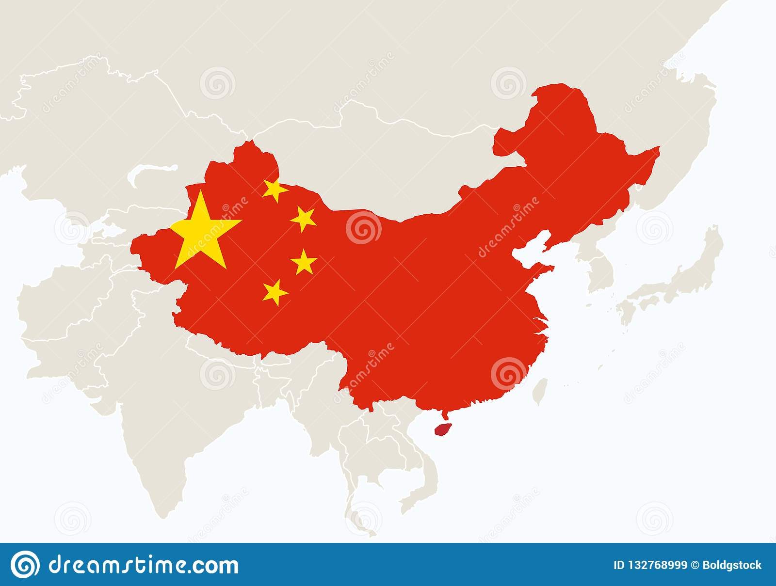 China On Map Of Asia.Asia With Highlighted China Map Stock Vector Illustration Of
