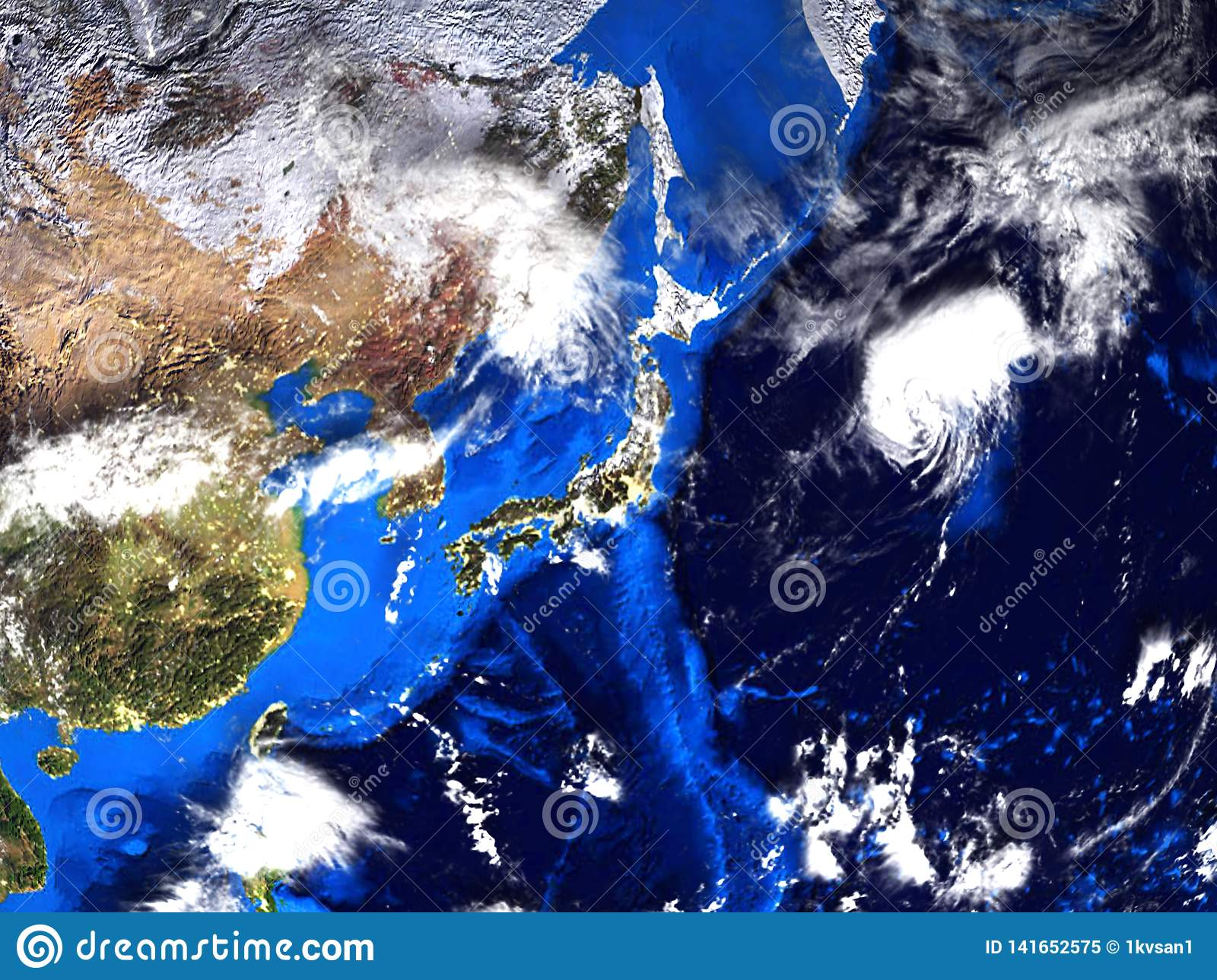 Map Of Asia And Japan.Asia And Japan Map View From Space 3d Stock Illustration