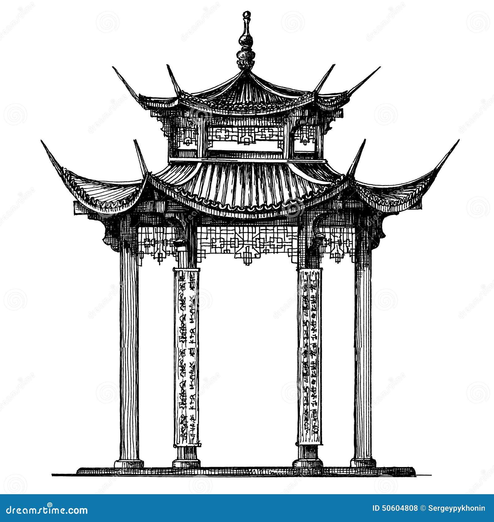 Asia Korea Japan China. Religious Architecture Stock Illustration - Image 50604808