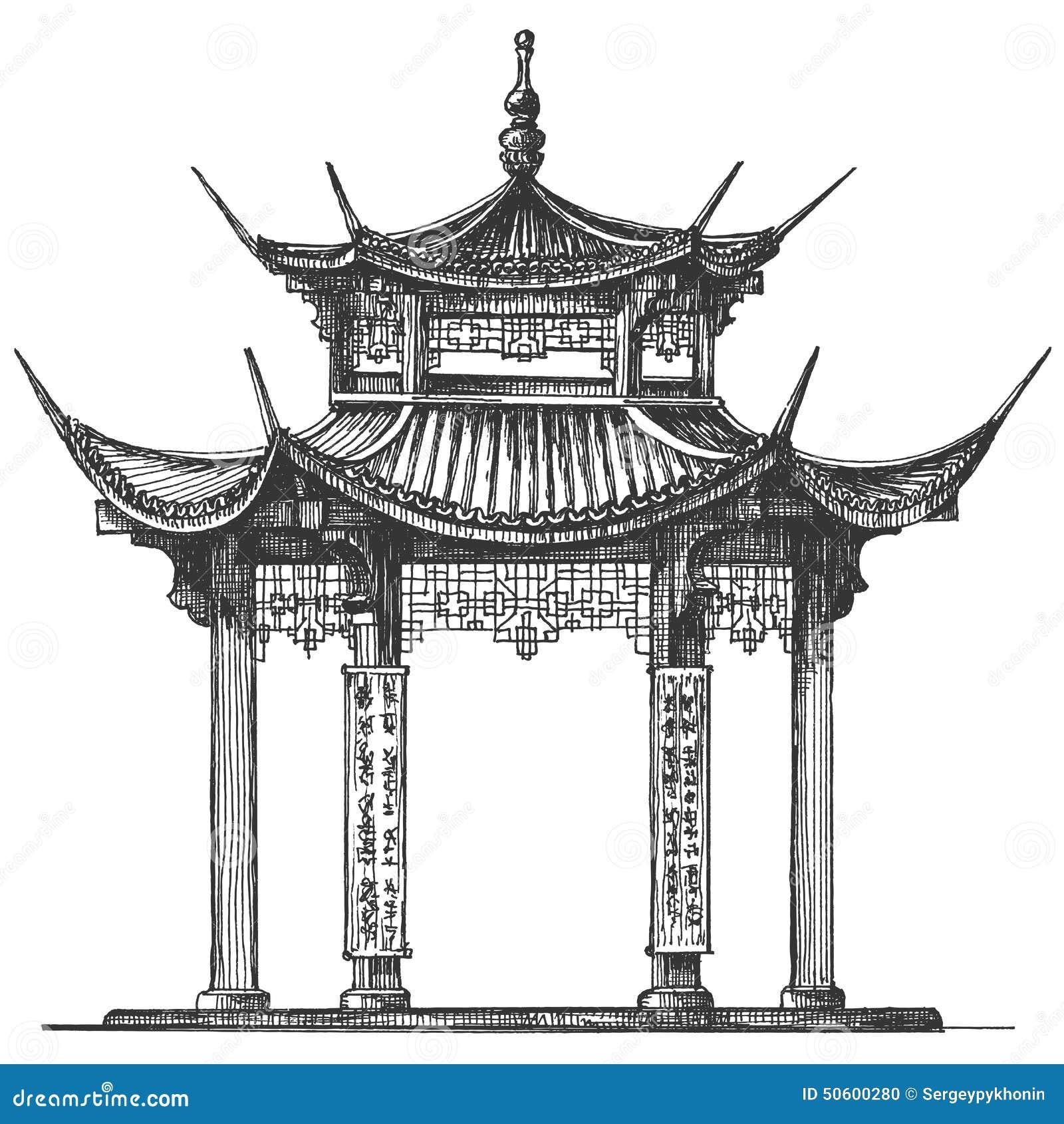 asia logo design template temple religion icon sketch architecture japan white background vector illustration 50600280