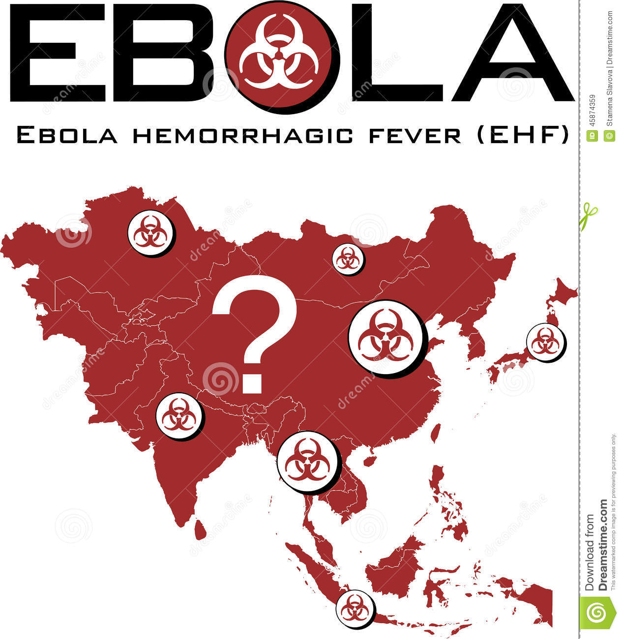 Asia Map With Ebola Text And Biohazard Symbol Stock Vector