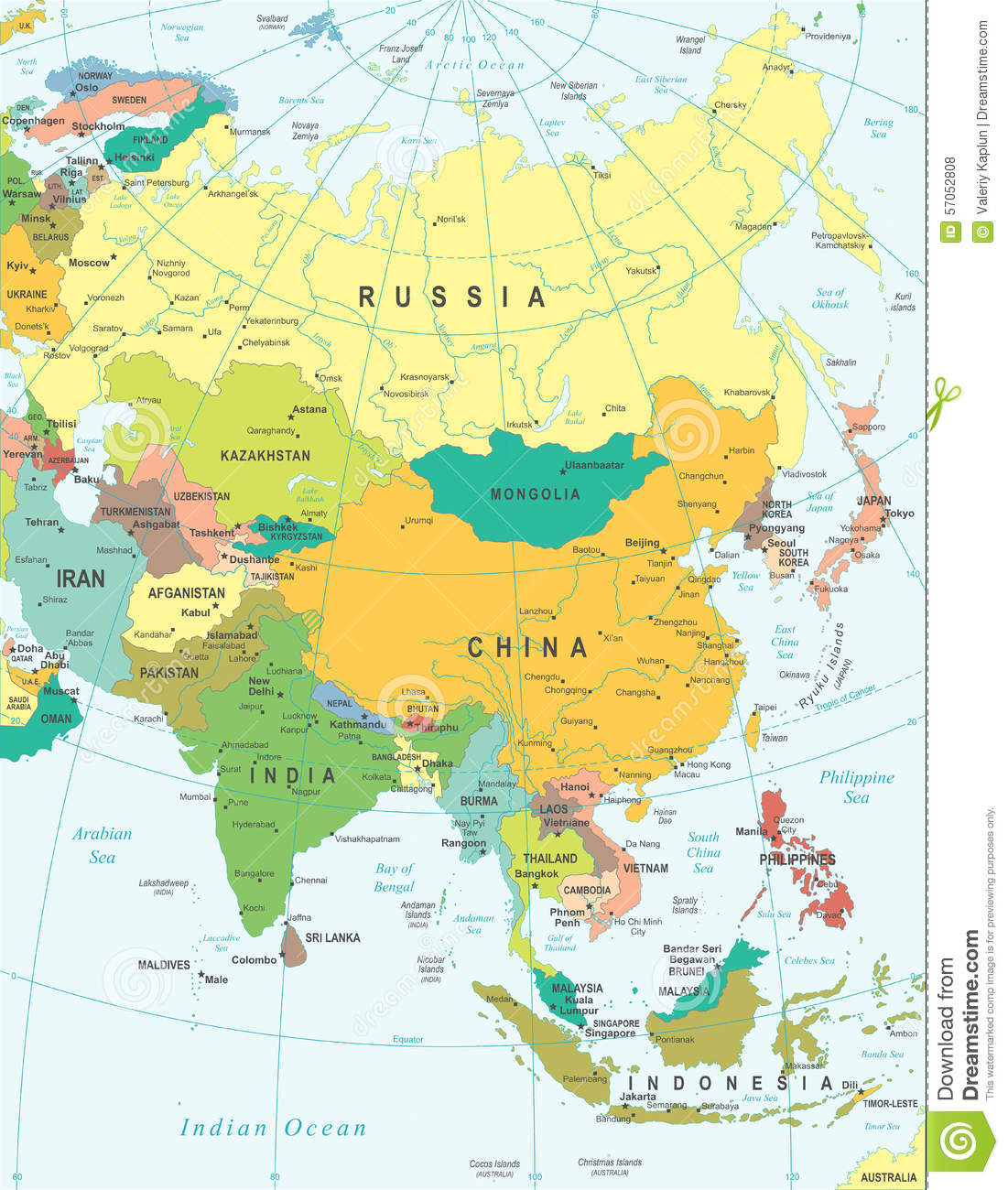 Map Of Asia For Coloring.Asia Map Illustration Colored And Grid Stock Vector