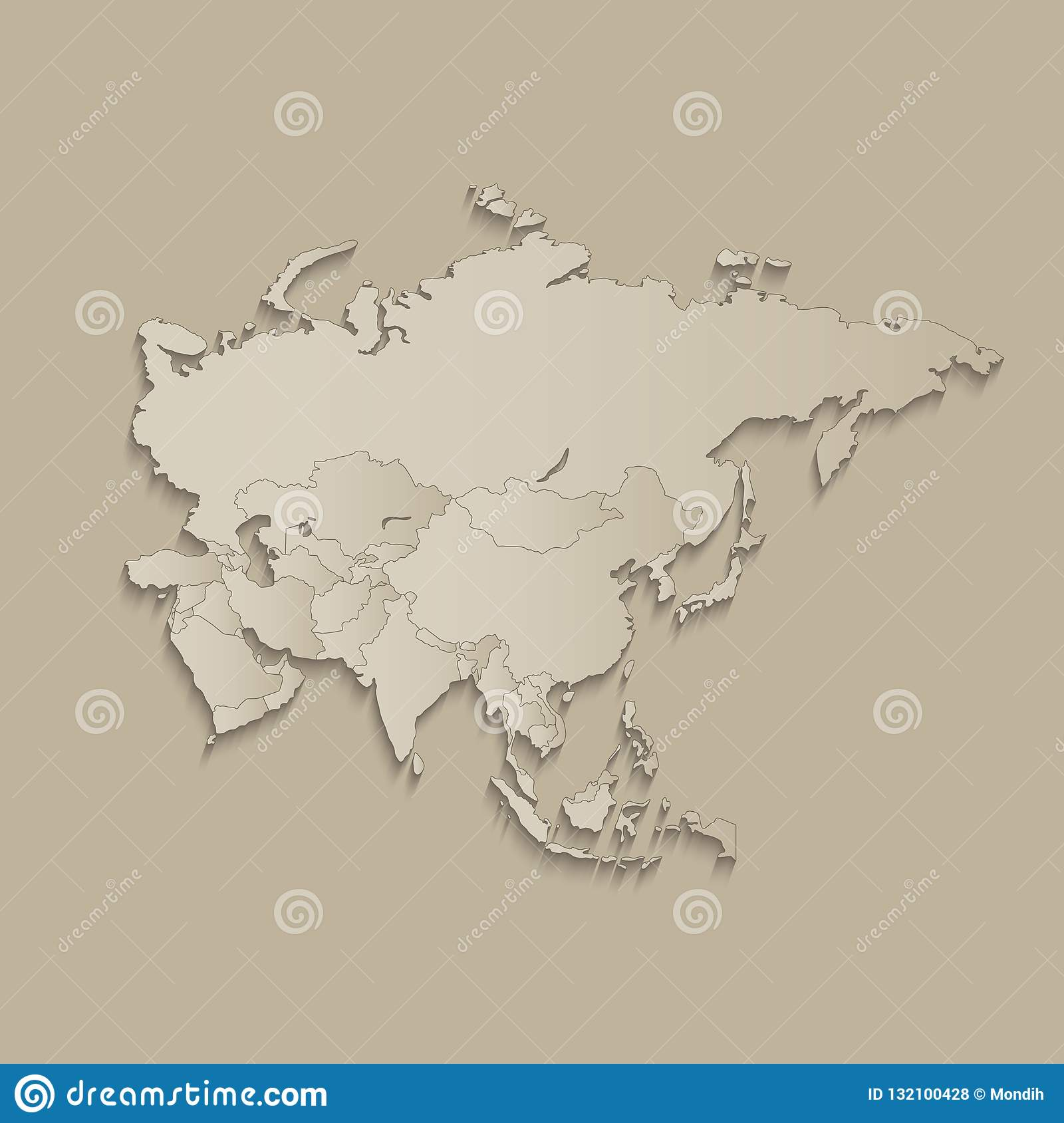 Asia Map With Individual States Separated, Infographics With ...