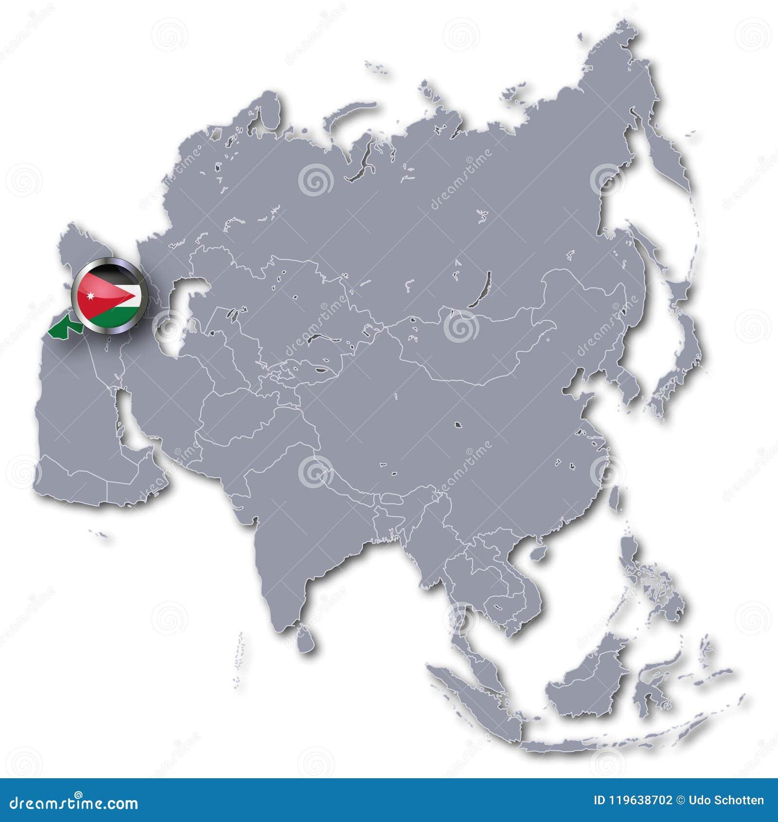 Map Of Asia Jordan.Asia Map With Jordan Stock Illustration Illustration Of Logistics