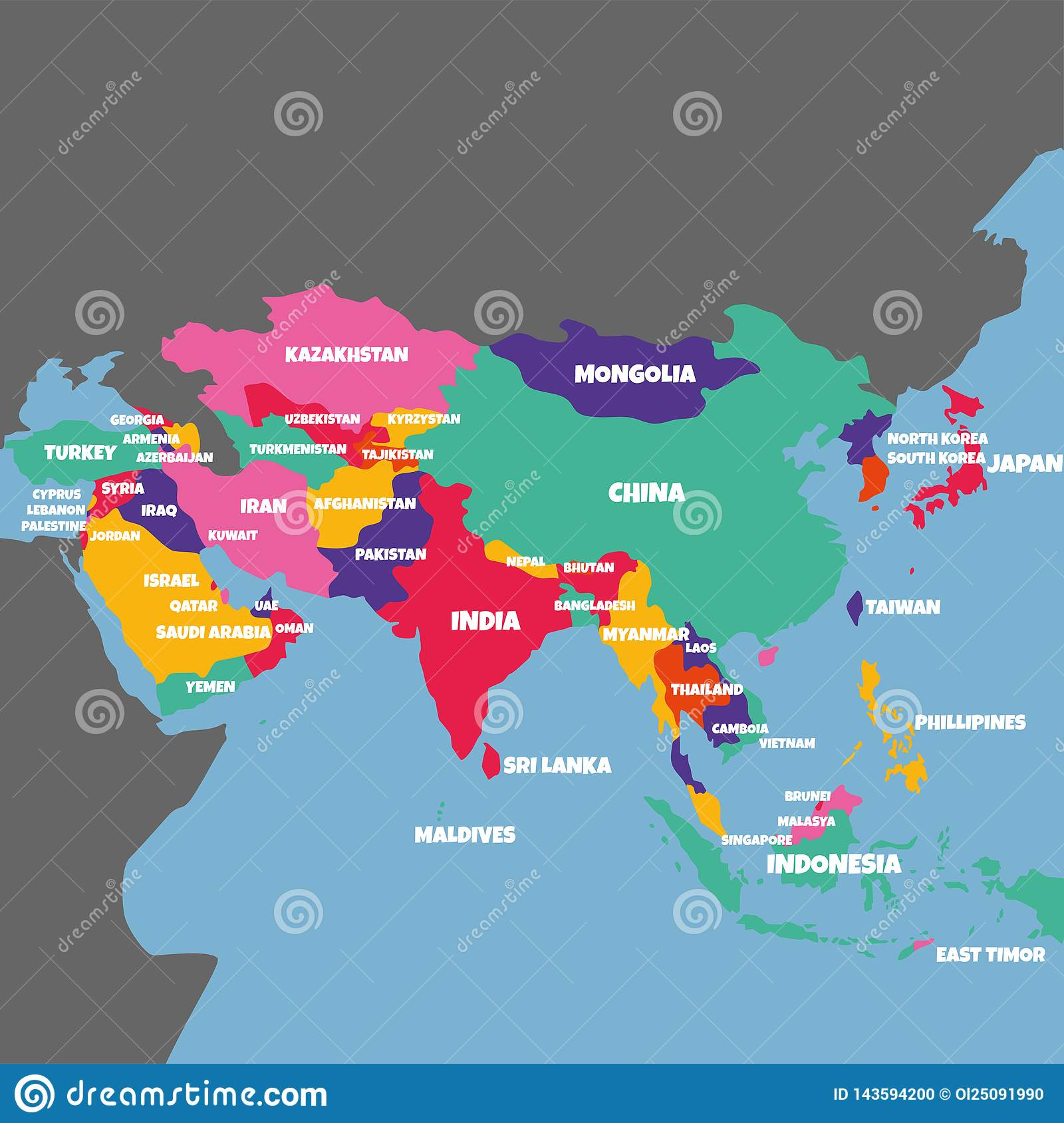 Asia Map Of Countries.Asia Map With The Name Of The Countries Stock Illustration