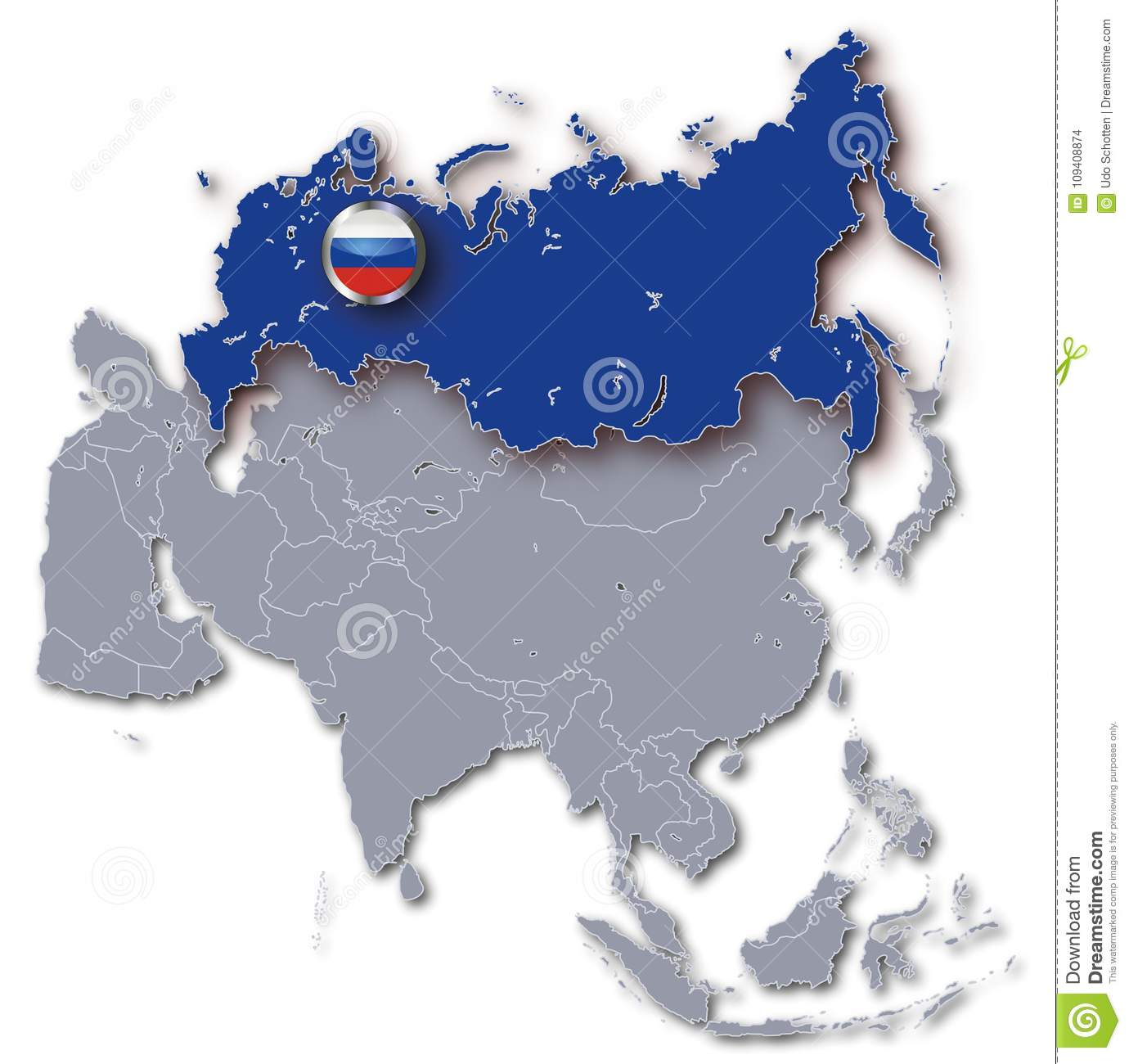 Asia Map With Russia Stock Illustration Illustration Of Russia