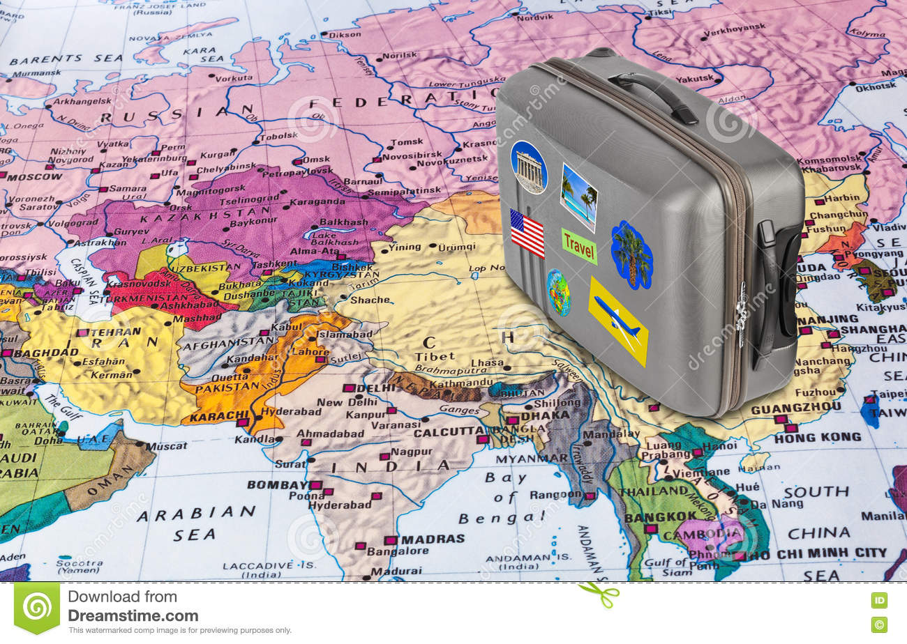 Asia map and travel case with stickers my photos stock photo download asia map and travel case with stickers my photos stock photo image gumiabroncs Gallery