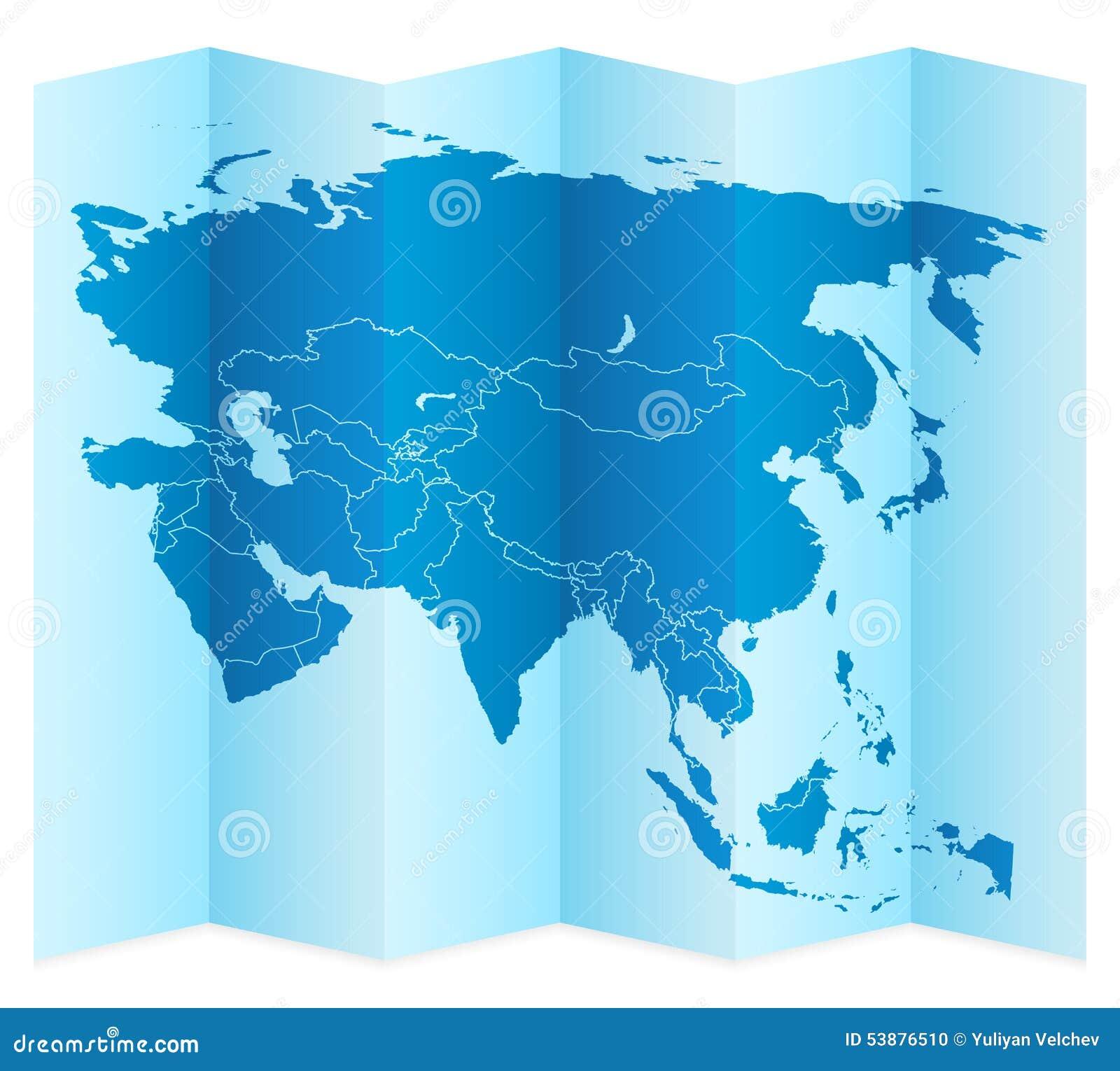 Asia map stock vector. Illustration of folded, outline - 53876510
