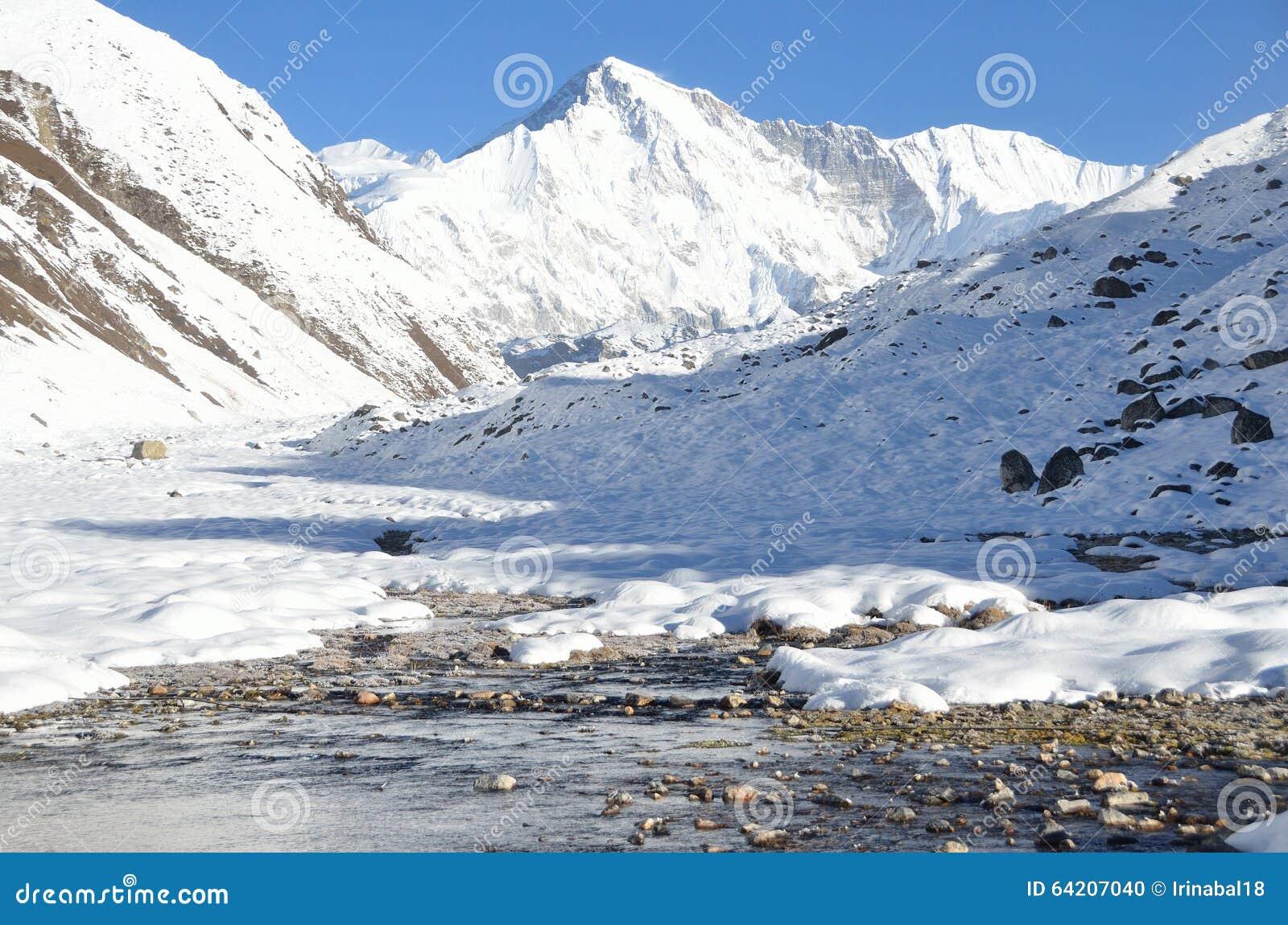 Asia, Nepal, el Himalaya, la opinión Cho Oyu máximo, 8210 metros sobre nivel del mar Villlage Gokio del ahd del lago Gokio