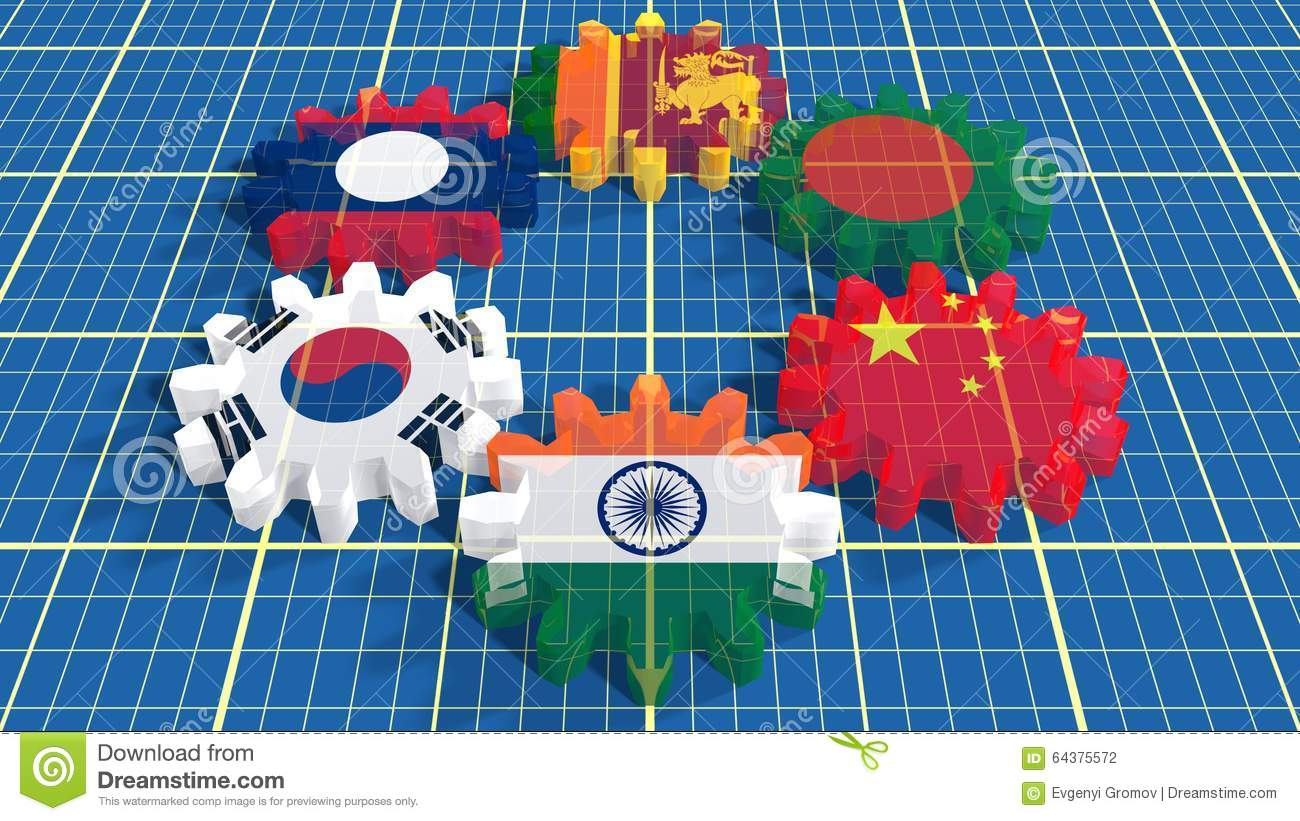 Asia Pacific Trade Agreement Members Flags On Gears Stock Photo