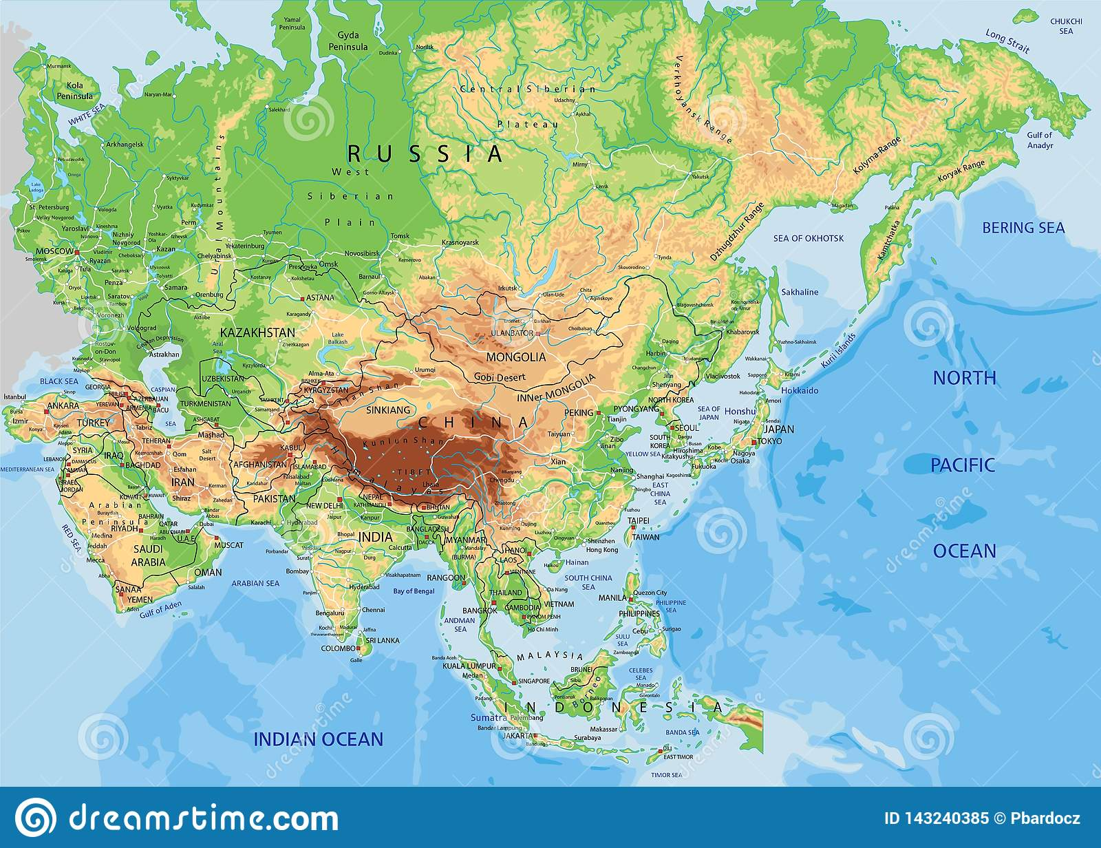 Image of: High Detailed Asia Physical Map With Labeling Stock Vector Illustration Of Atlas China 143240385