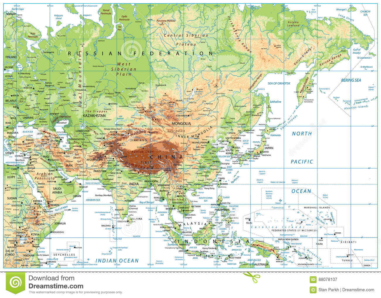 Cartina Asia Fisica.Asia Physical Map Stock Illustrations 6 236 Asia Physical Map Stock Illustrations Vectors Clipart Dreamstime