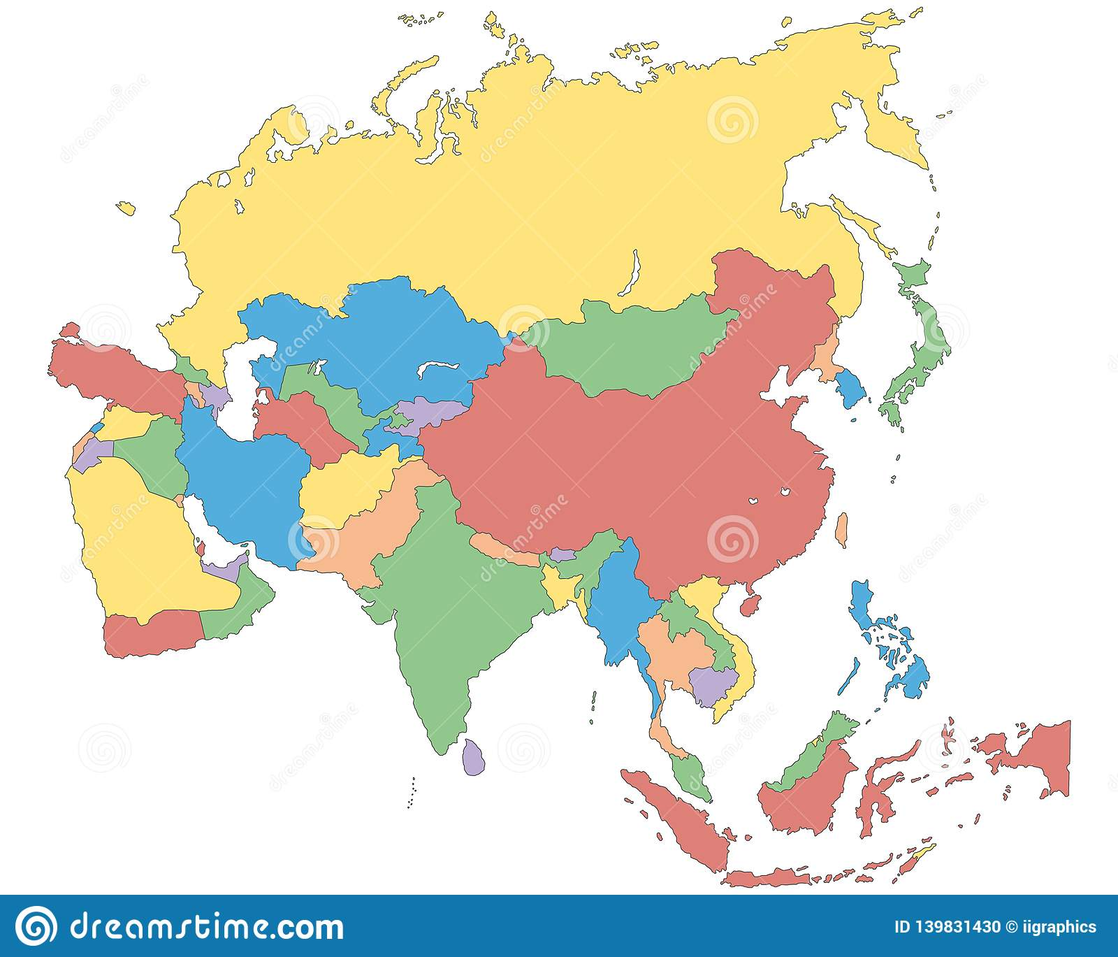 Cartina Politica Asia.Asia Political Map Of Asia Stock Illustration Illustration Of Countries Iran 139831430