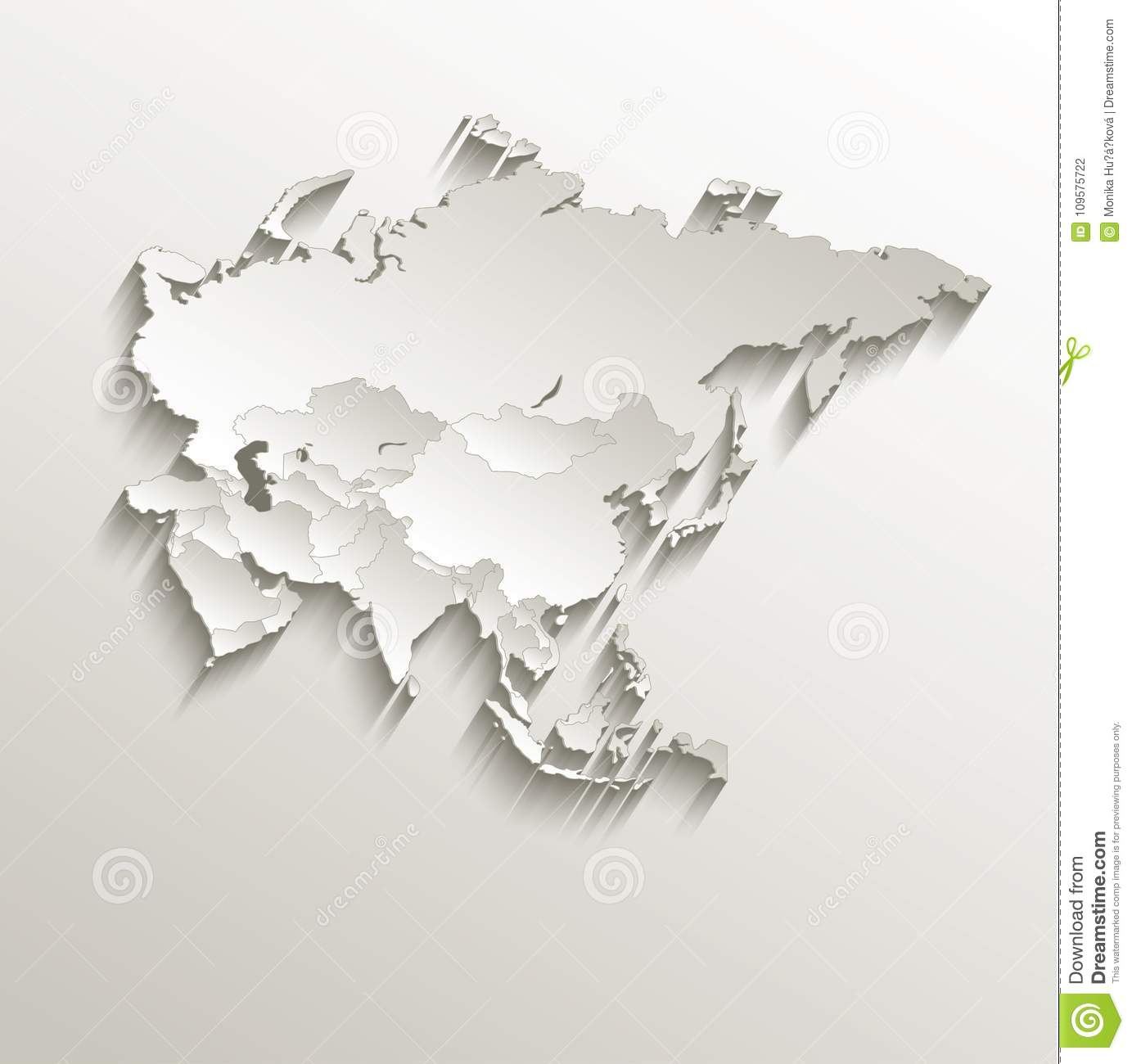 Map Of Asia Template.Asia Political Map Card Paper 3d Natural Stock Vector Illustration