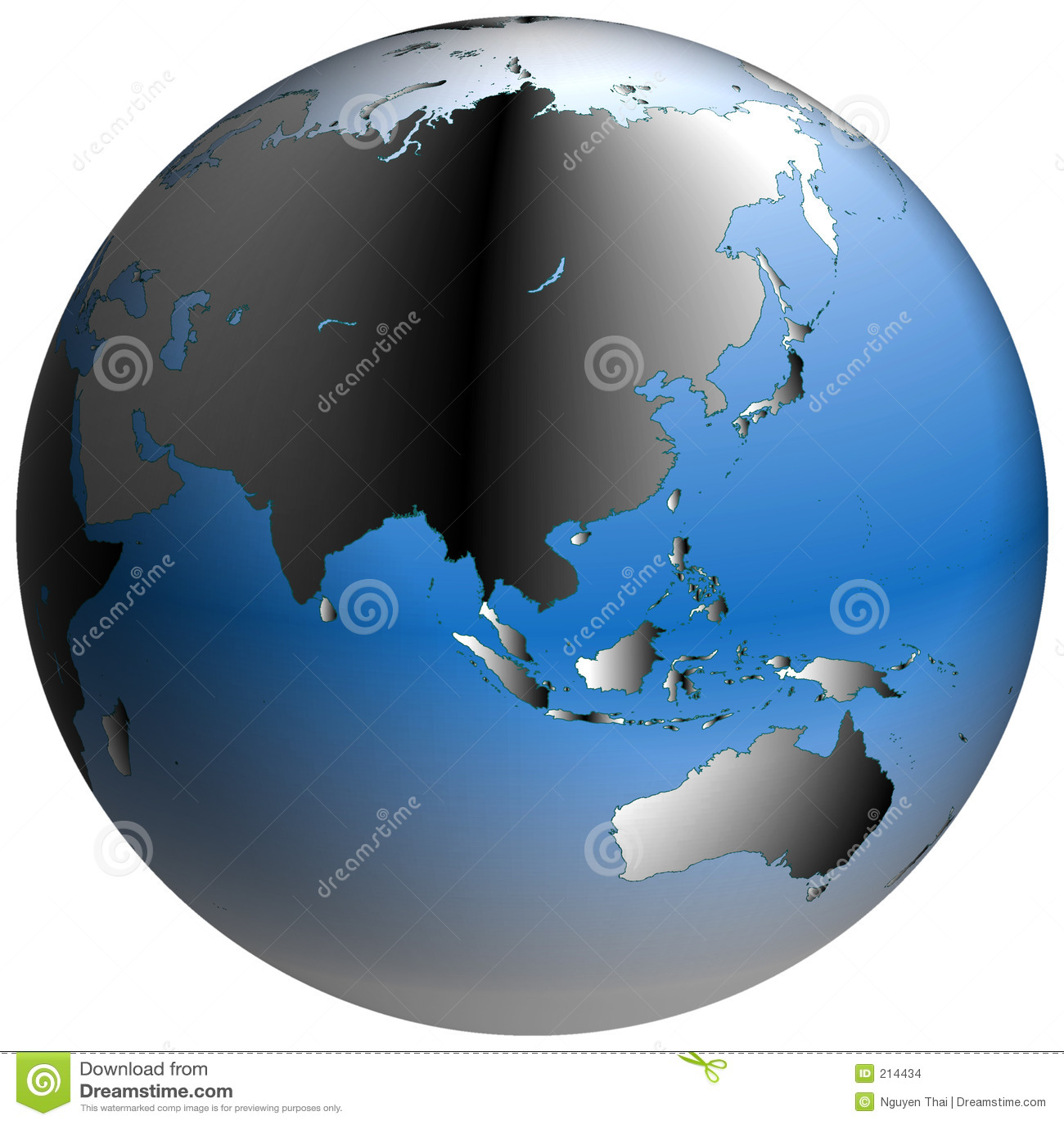 Asia skuggninde blåa jordklothav världen