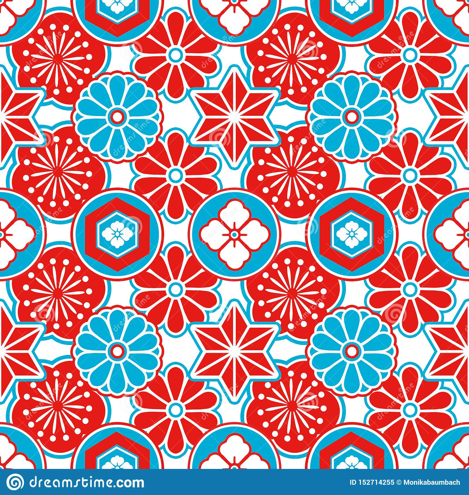 Asia style seamless pattern with red and blue Japanese ornamental flowers and geometrical elements on white background