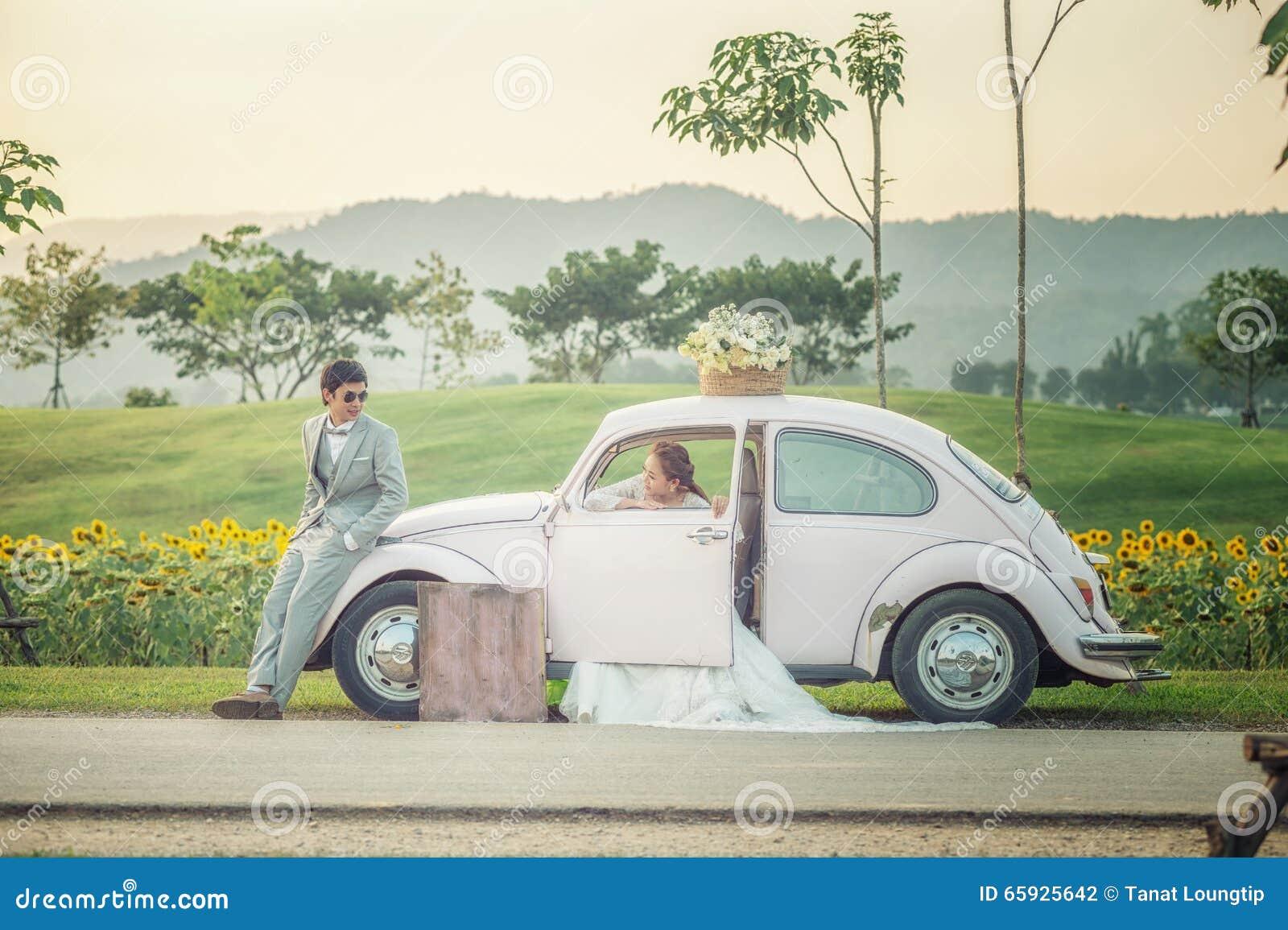 Asia Wedding Couple Enjoy On The Old Car Stock Photo Image Of Love Couple 65925642