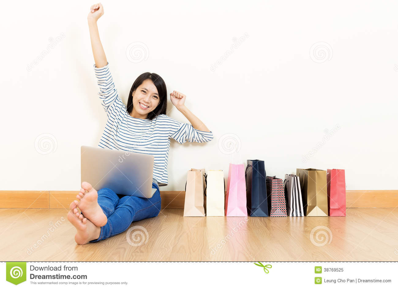 asia woman excited about shopping online stock image image 38769525. Black Bedroom Furniture Sets. Home Design Ideas