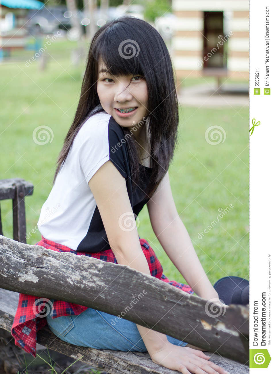 Asia Woman Thai Teen Relax On Park Happy
