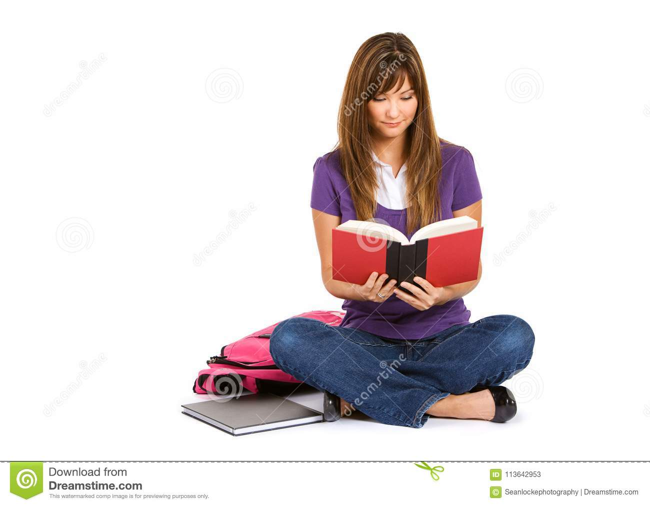 Student Woman Sitting And Reading Book Stock Image Image