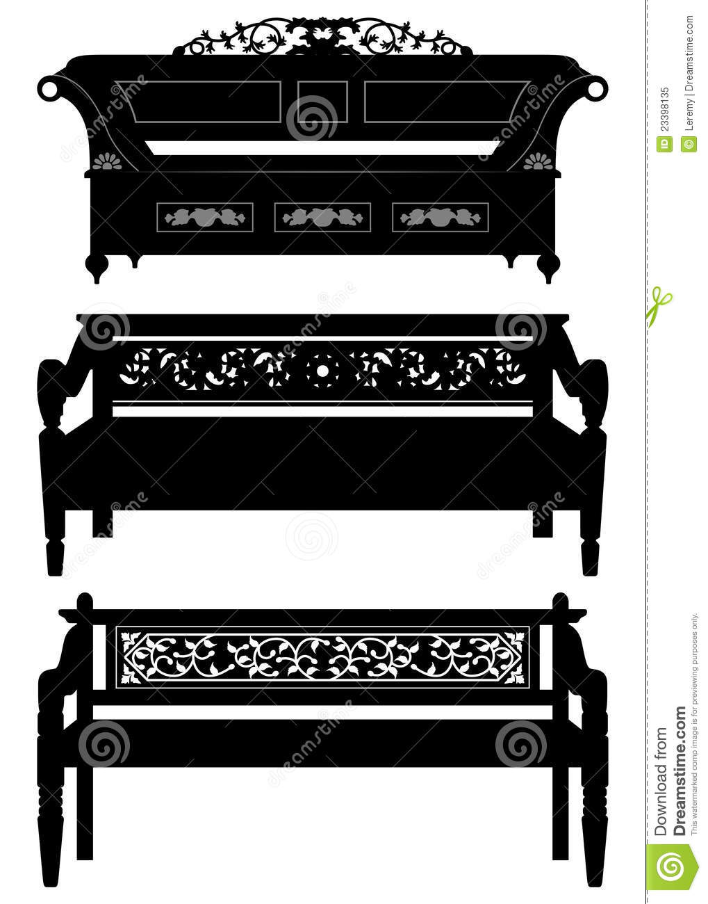 Antique chair silhouette - Asian Antique Chair Bench Furniture In Silhouette