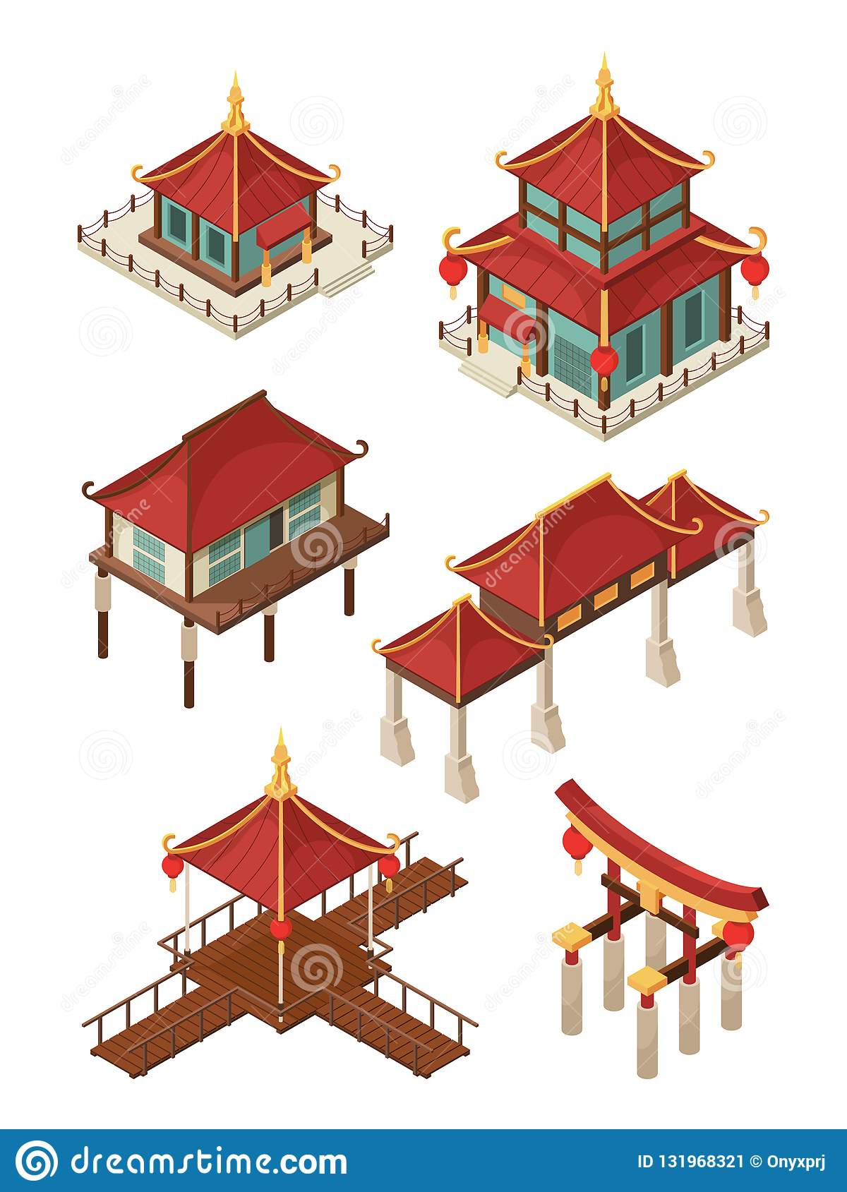 Asian Architecture Isometric Traditional Chinese And Japan Houses Buildings Roof Vector 3d Illustrations Stock Vector Illustration Of Design Gate 131968321