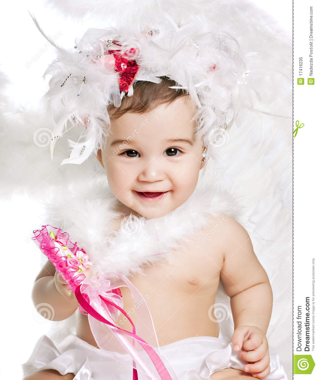 Asian baby boy in a angel fancy dress royalty free stock photo image
