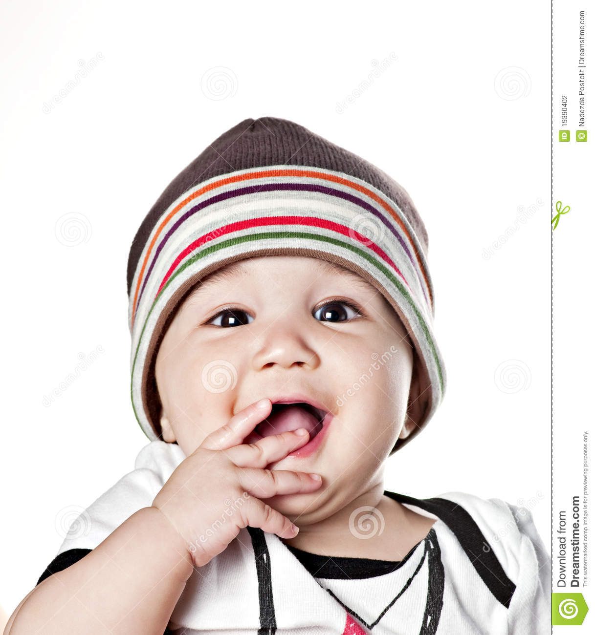Asian baby boy in a cap stock photography image 19390402