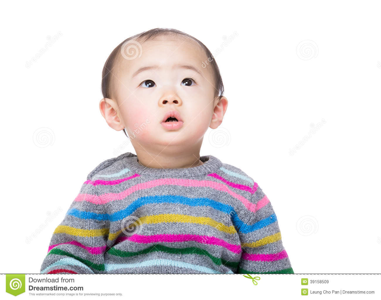 Asian baby boy looking up stock photo image 39158509