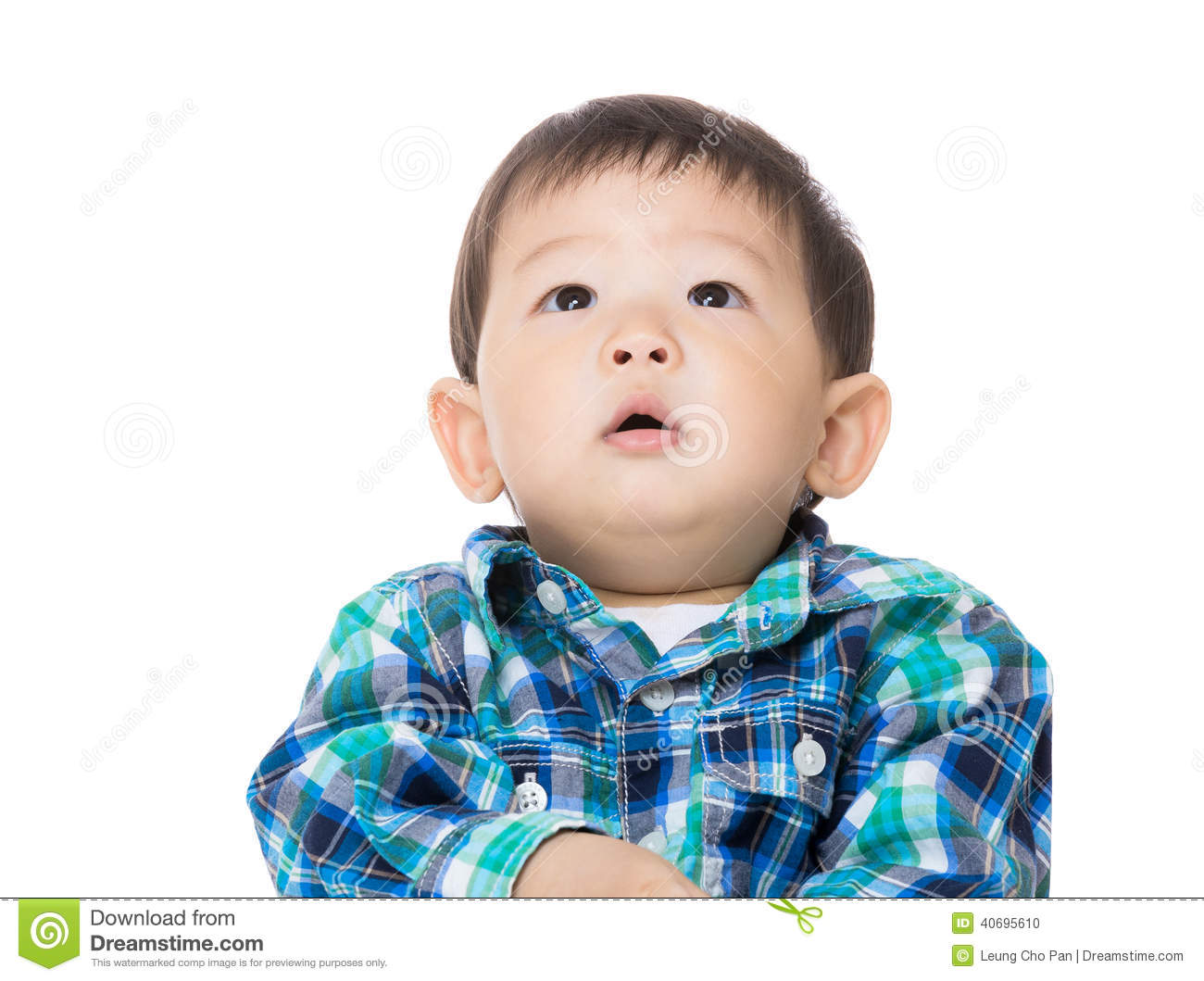 Asian baby boy looking up