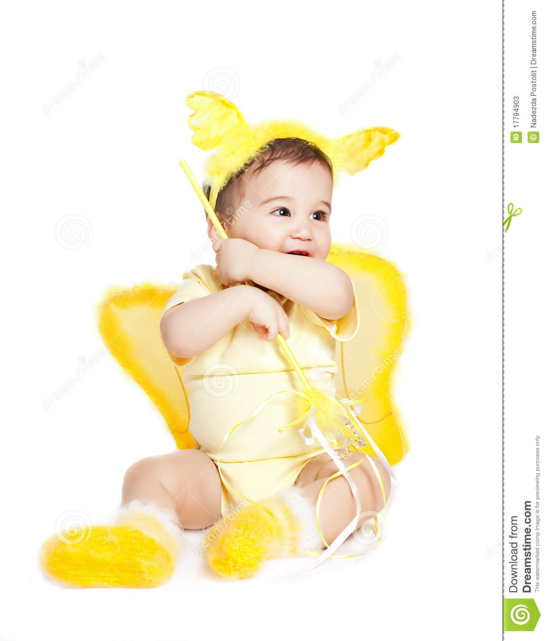 Asian baby boy in a yellow fancy dress stock photos image 17794903