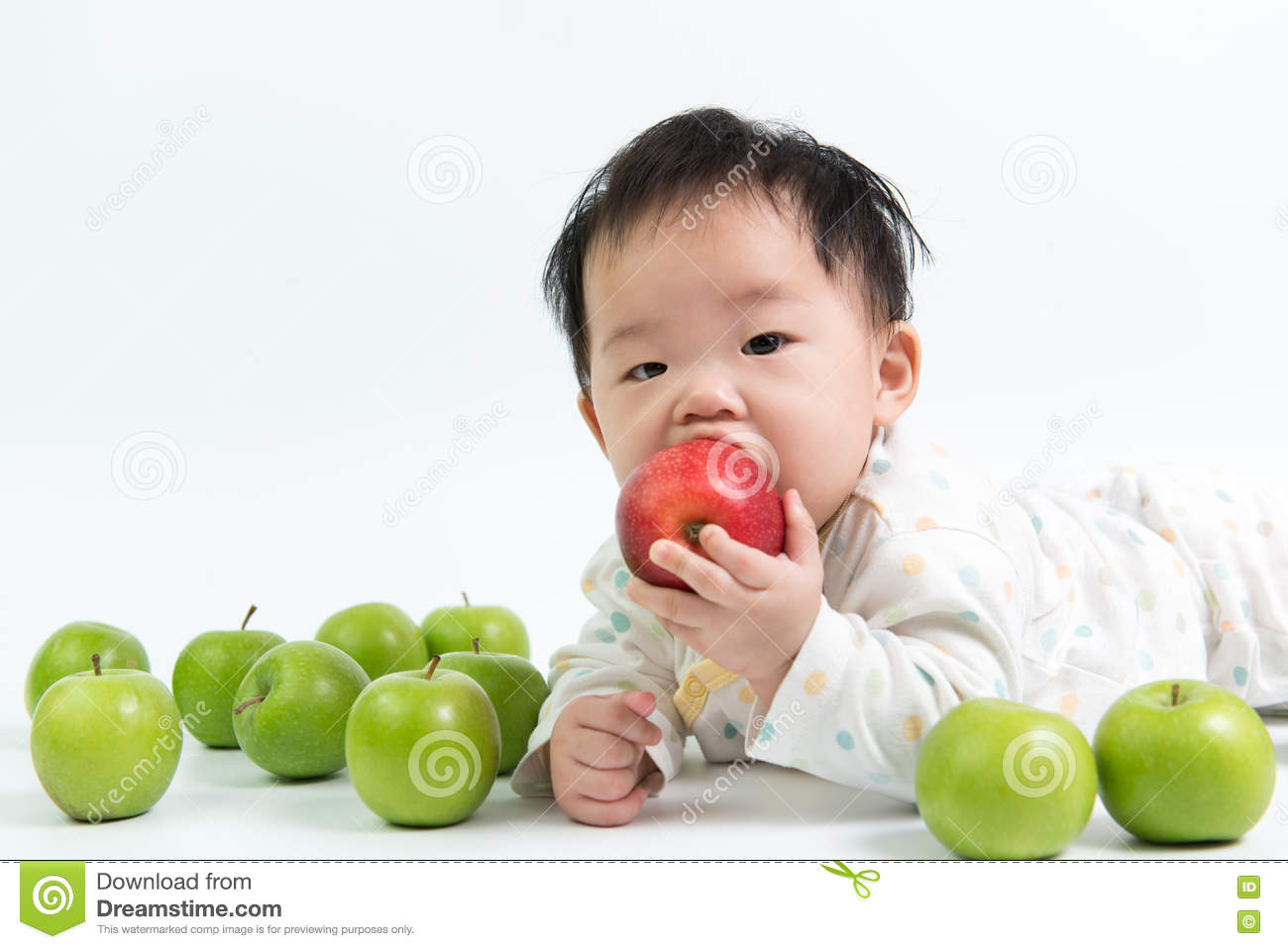Seems asian baby eating were