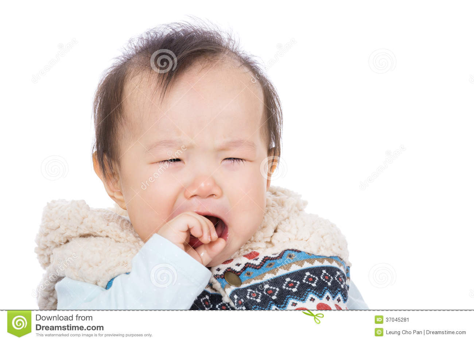 Asian baby girl crying