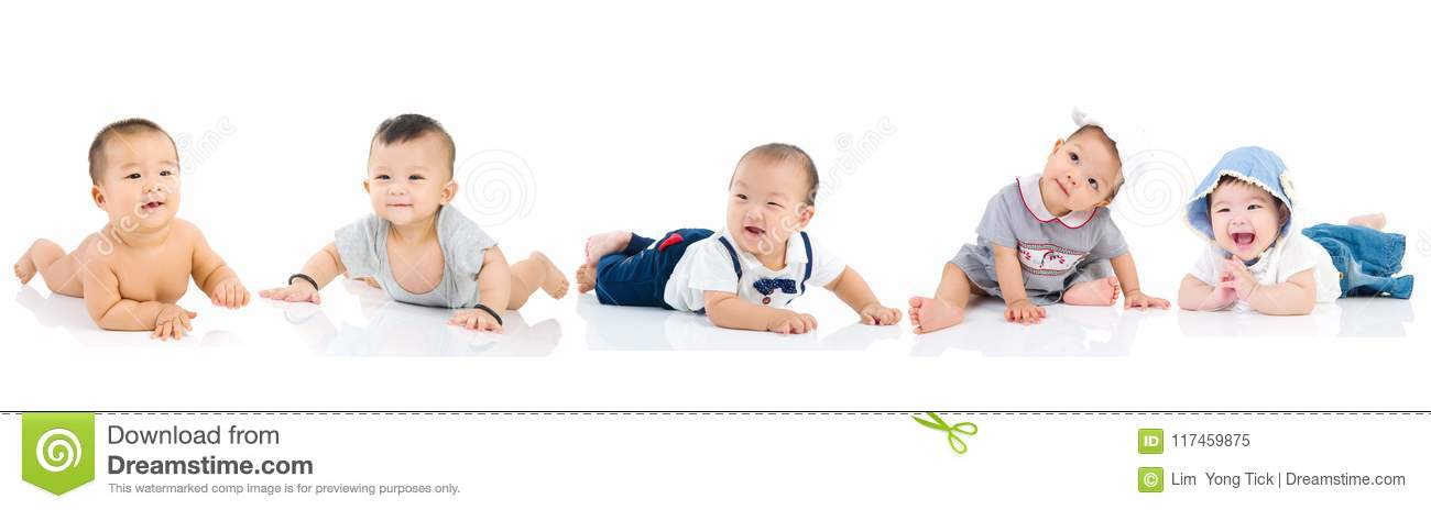 Asian baby playing together