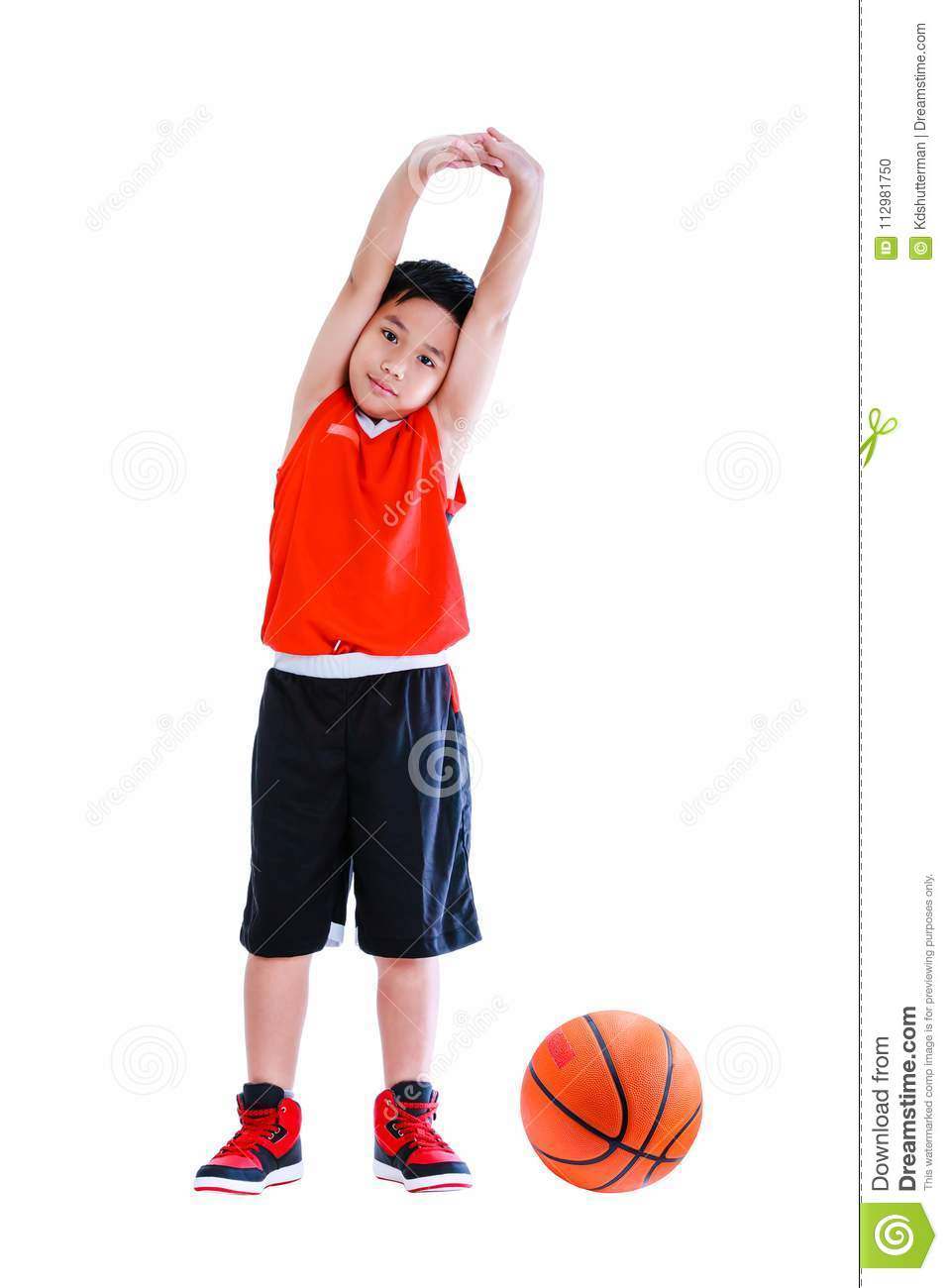 Asian basketball player doing muscle stretching. Isolated on white background.