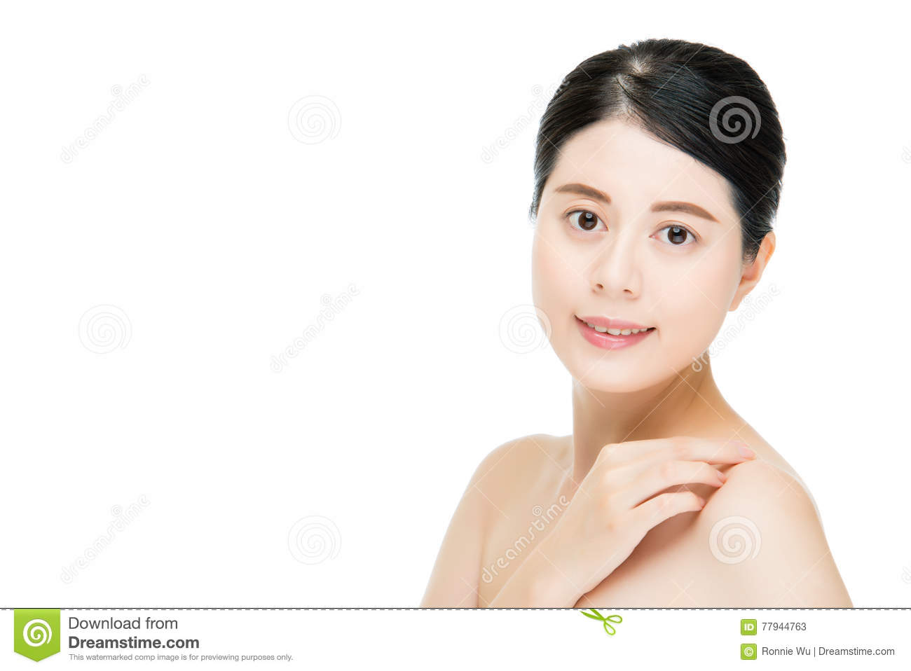 Asian beautiful face of young adult woman clean fresh skin