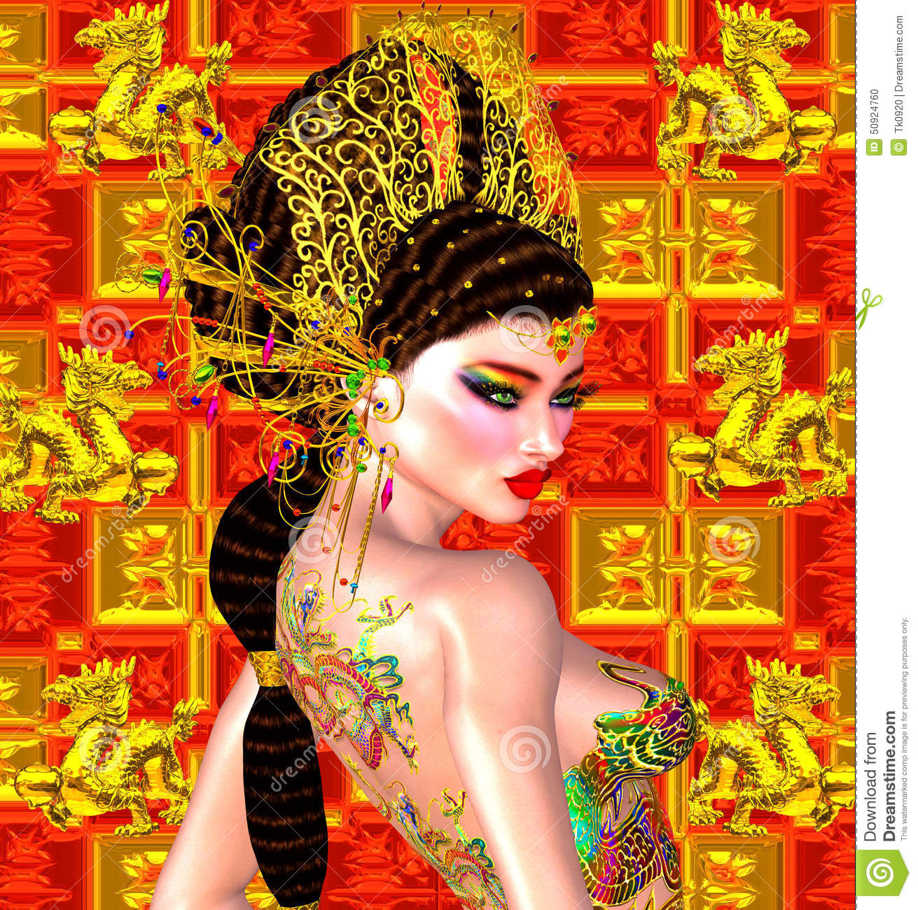 Asian beautiful woman, dragon tattoo on her back, colorful makeup and bra.